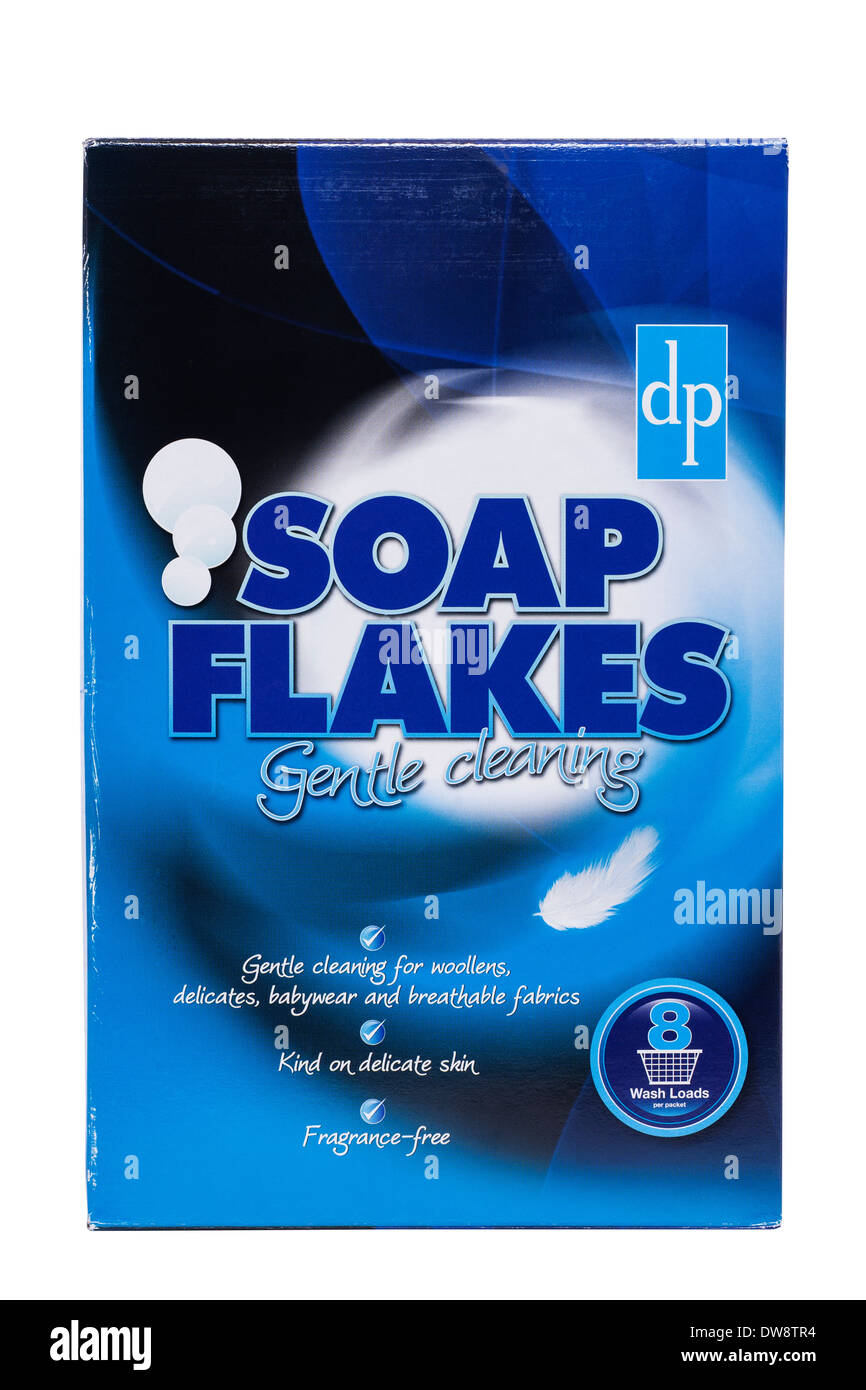 A box of dp soap flakes on a white background - Stock Image