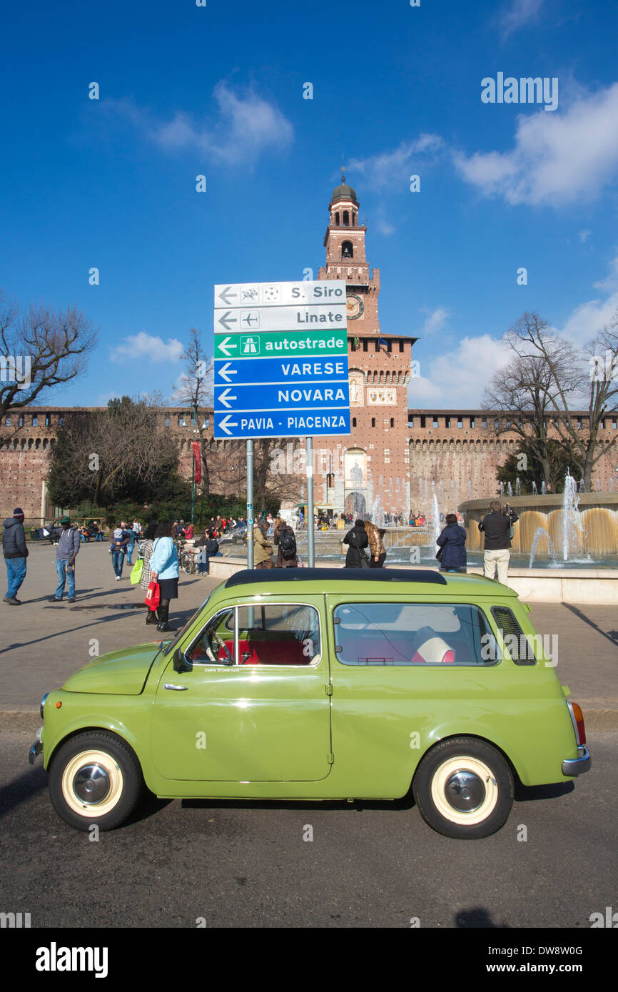 Classic Fiat cars parked at Castello Sforzesco, Sforza Castle, Piazza Castello, Milano Milan Italy - Stock Image