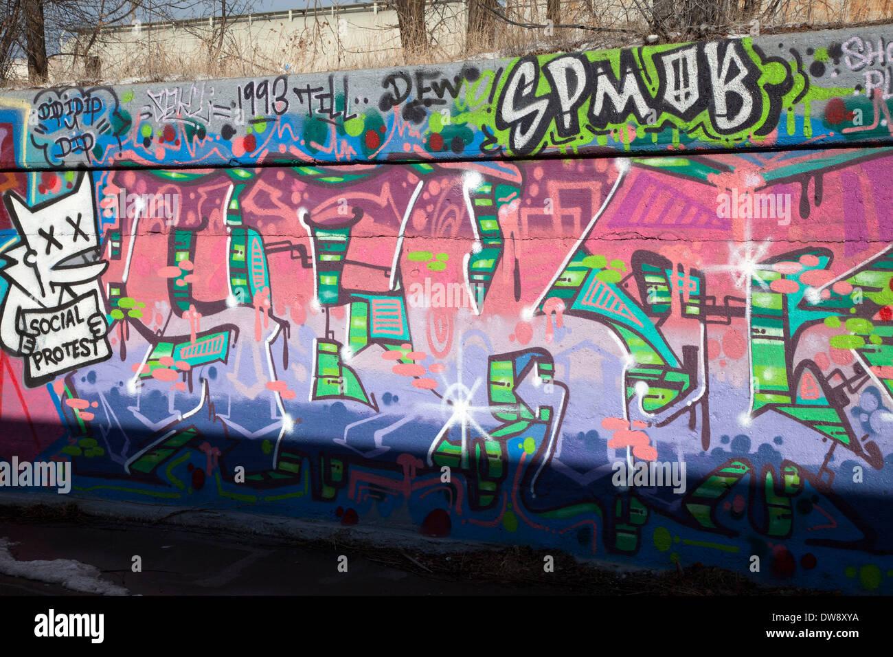Graffiti on wall detroit michigan usa stock image