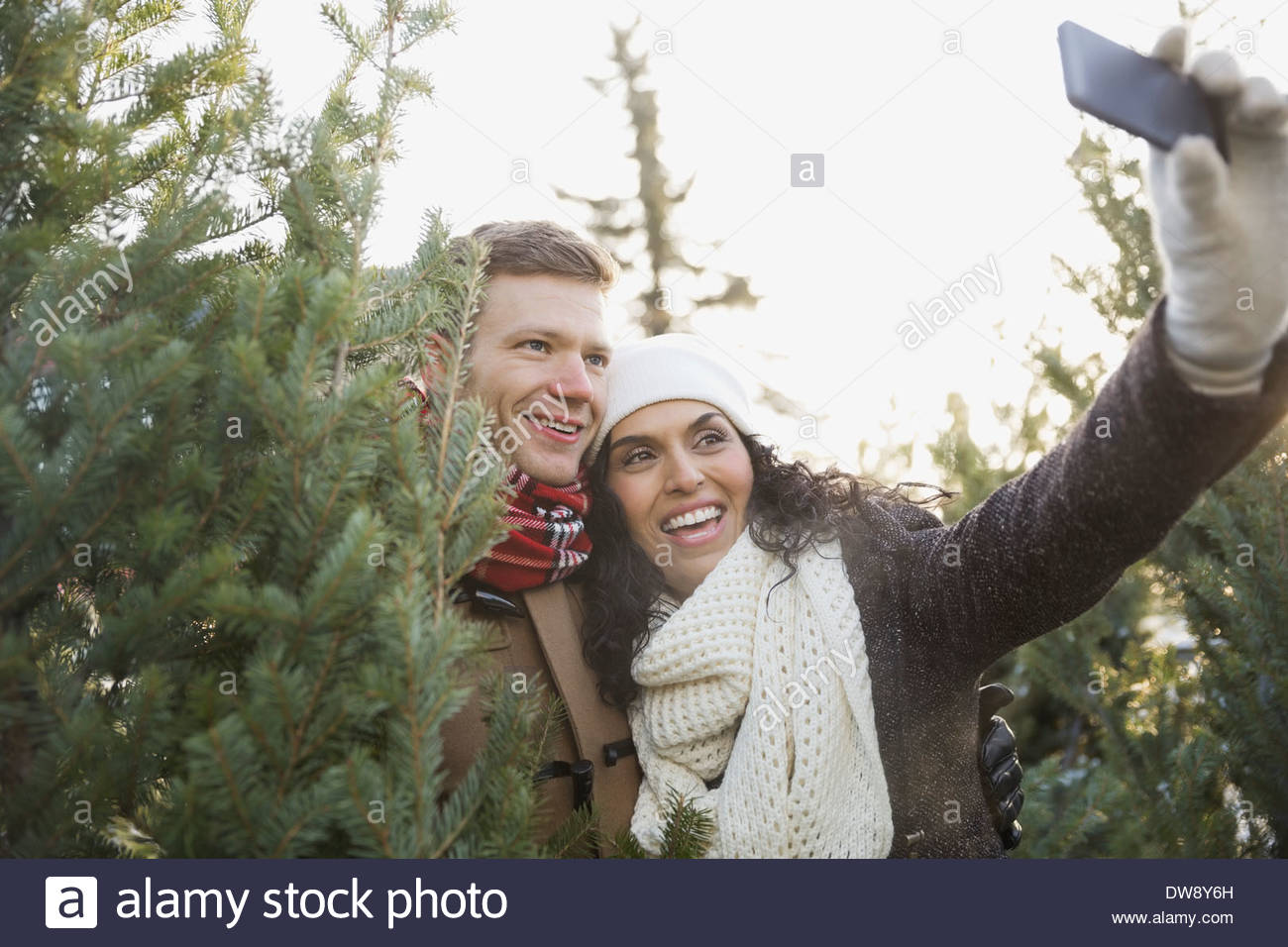 Couple taking self portrait while shopping for Christmas tree - Stock Image