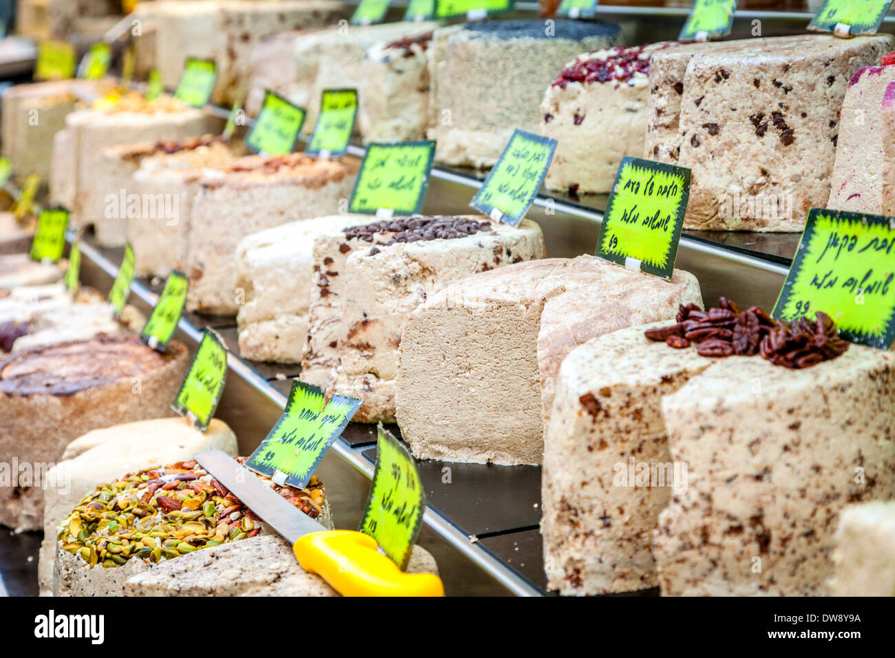 Confections stand at Mahane Yehuda in Jerusalem - Stock Image