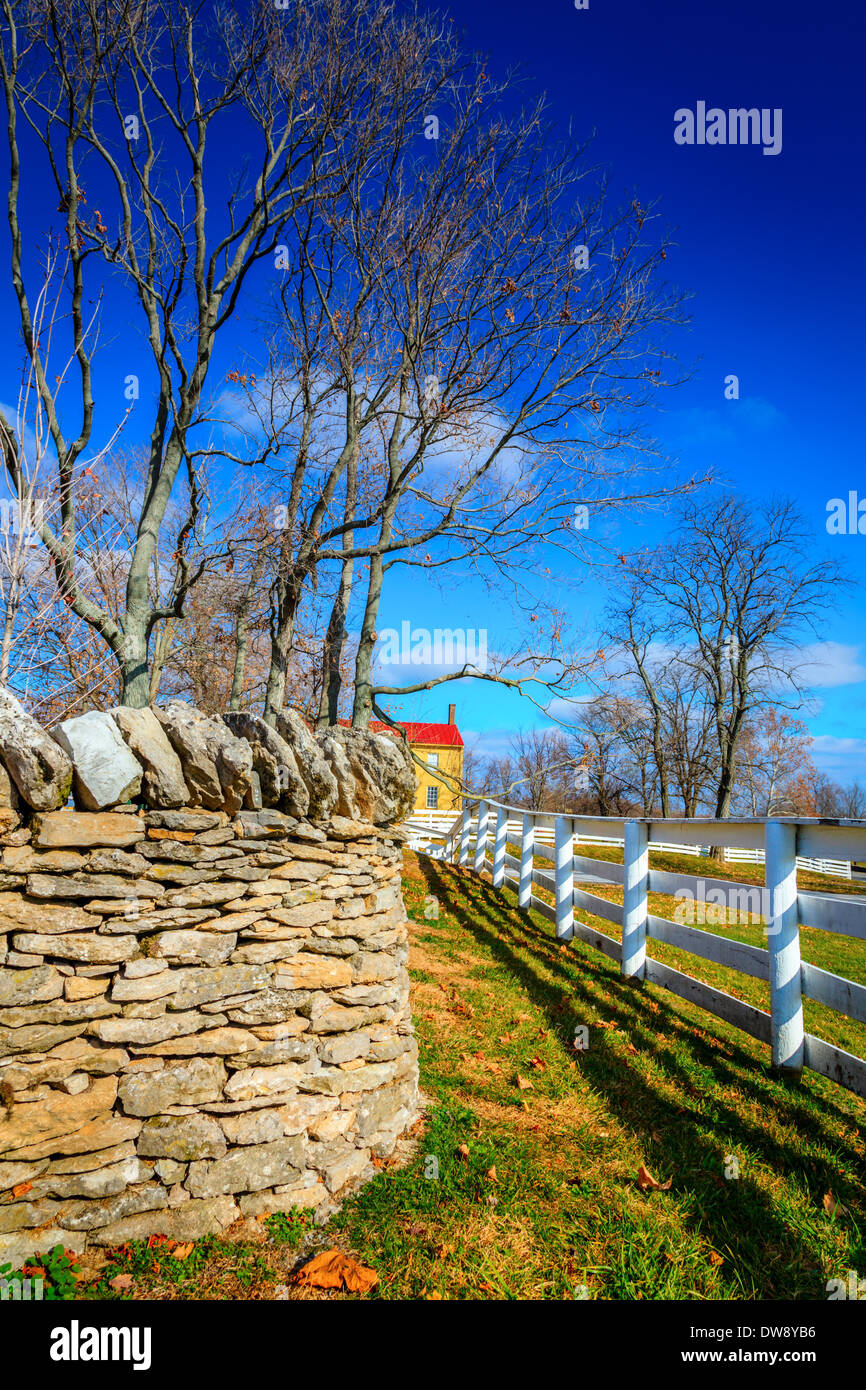 Stone and wooden fences - Stock Image