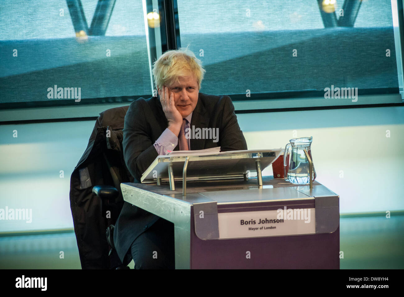 London Mayor Boris Johnson Question Time at City Hall Stock Photo