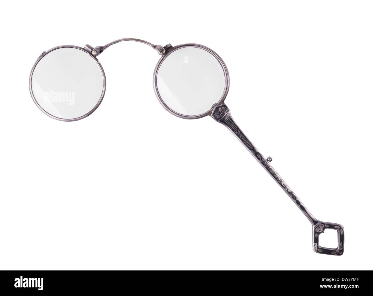 rarity vintage lorgnette isolated on white background - Stock Image