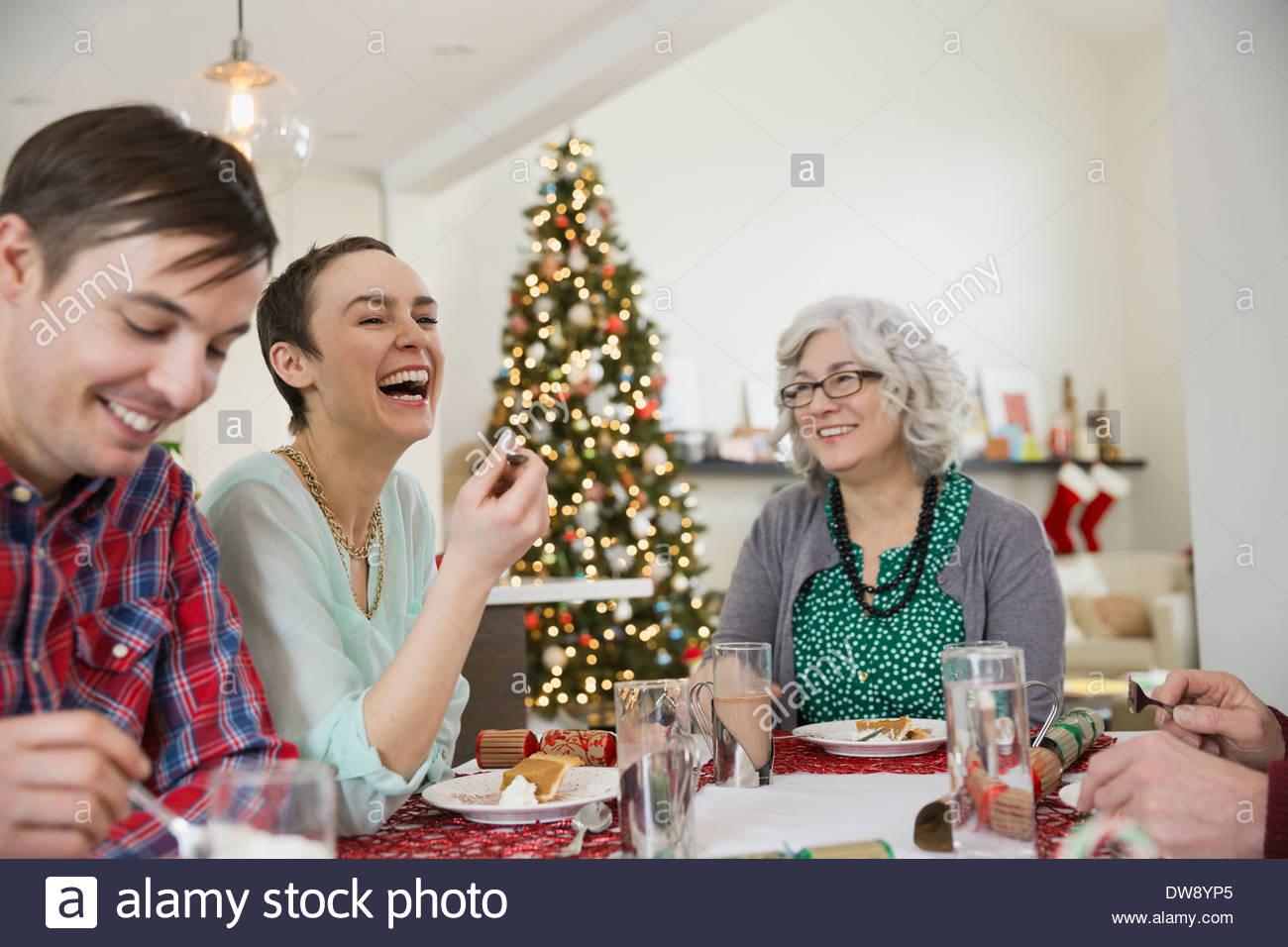 Family enjoying Christmas meal together - Stock Image