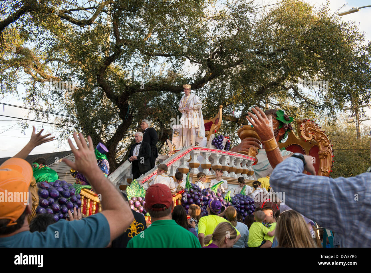 """New Orleans, Louisiana, 2 March, 2014. King of Bacchus, Hugh Laurie leads the Mardi Gras Sunday parade themed, """"In Stock Photo"""