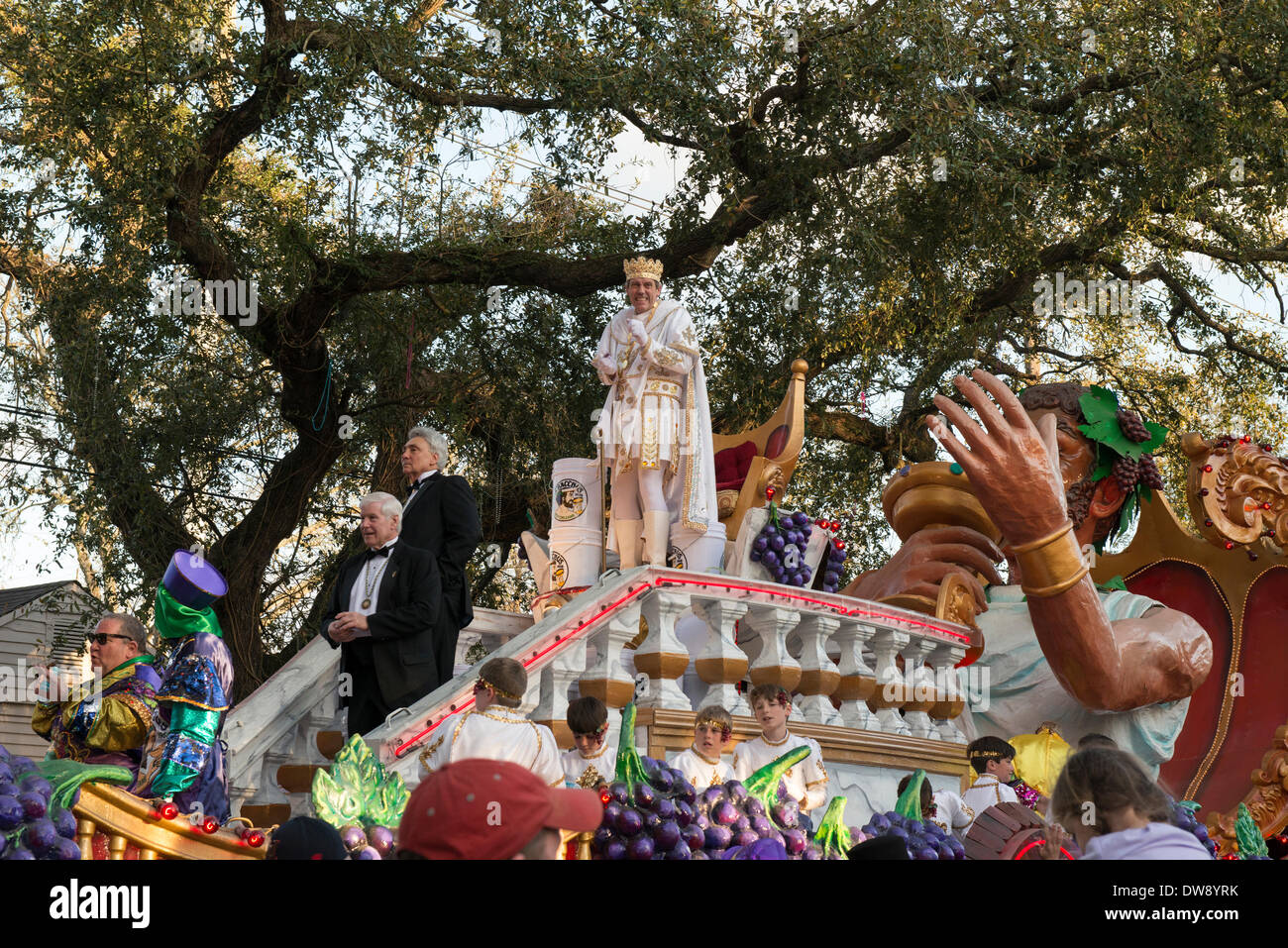 New Orleans, Louisiana, 2 March, 2014. King of Bacchus, Hugh Laurie leads the Mardi Gras Sunday parade themed, 'In Vino Veritas!' Credit:  JT Blatty/Alamy Live News - Stock Image