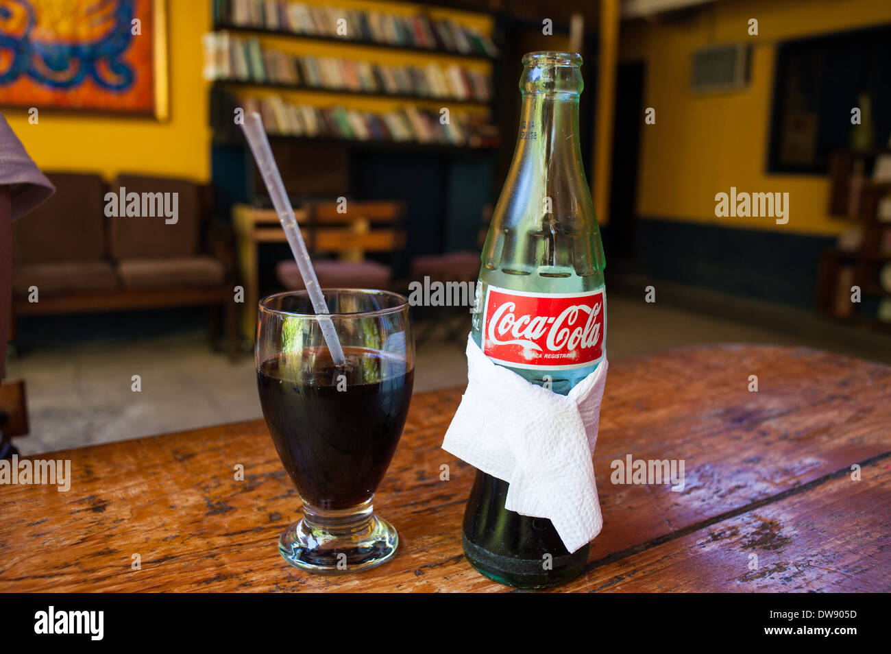 Bottled Coca-Cola, as served in the town of Copán Ruinas, Honduras. - Stock Image