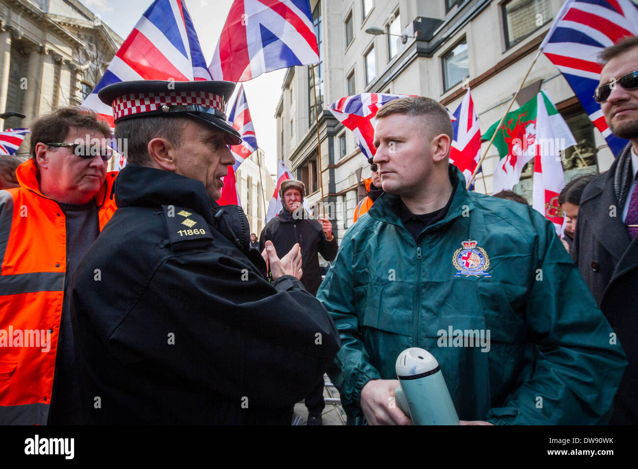 Paul Golding leader of Britain First right-wing patriot group outside Old Bailey court in London. - Stock Image