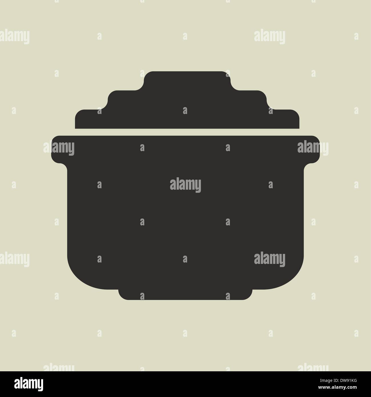 Stylized shiny cartoon pot of gold - Stock Image