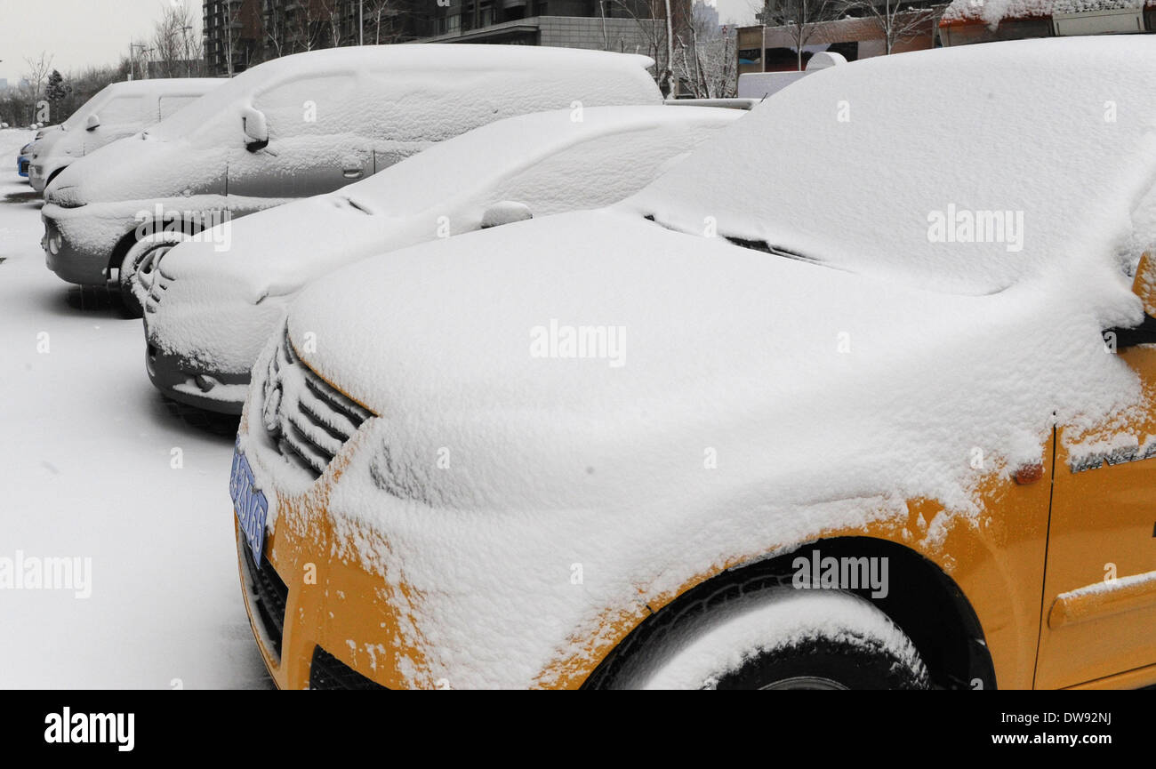Shenyang, China's Liaoning Province. 4th Mar, 2014. Parked vehicles are covered with snow at a community in Shenyang, capital of northeast China's Liaoning Province, March 4, 2014. Affected by a cold cyclone, heavy snowfall hit most parts of Liaoning Province late Monday. Credit:  Jiang Bing/Xinhua/Alamy Live News - Stock Image