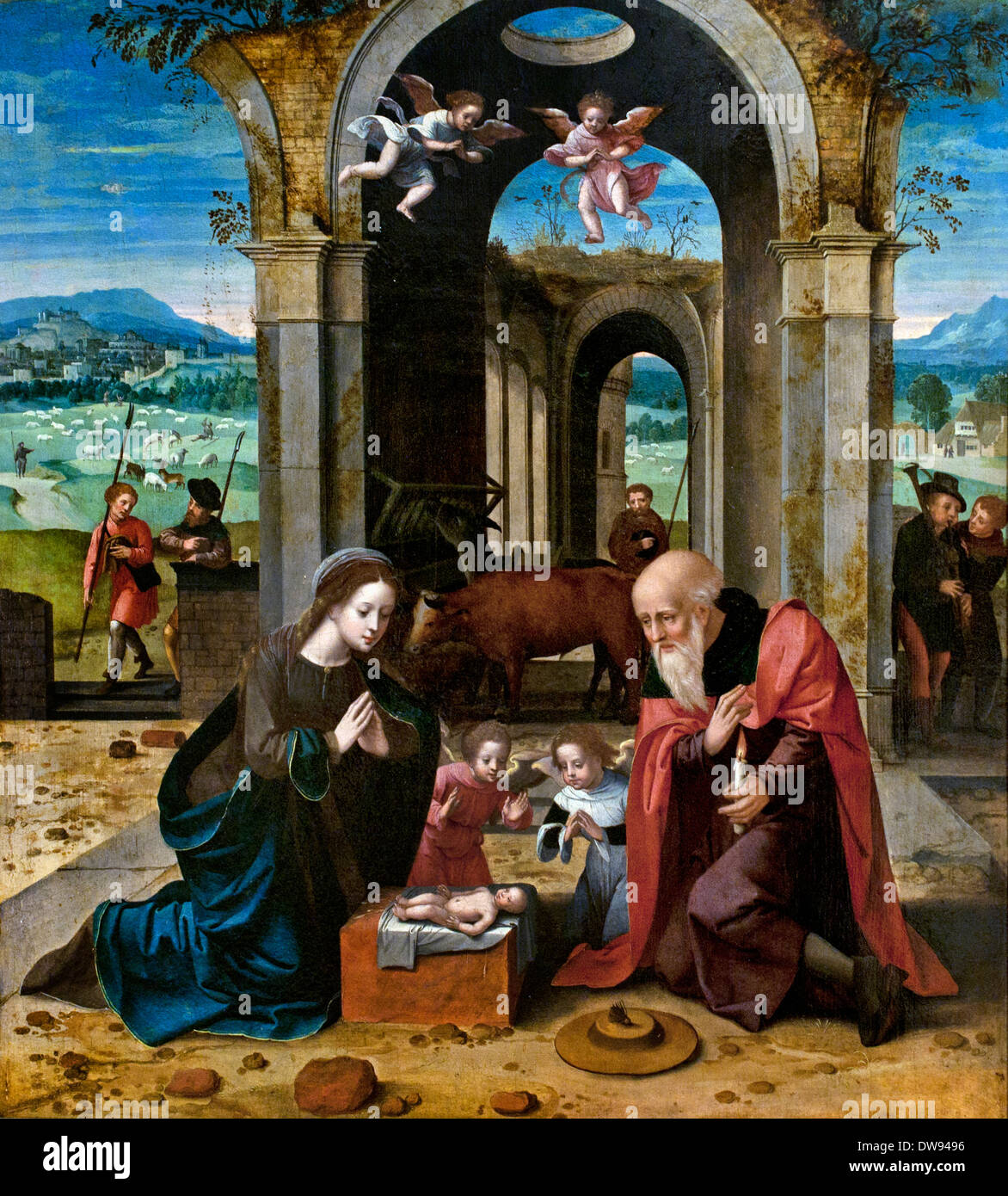 Triptych of the Nativity 1520 Master of the Female Half-Lengths Antwerp Flemish Belgian Belgium - Stock Image
