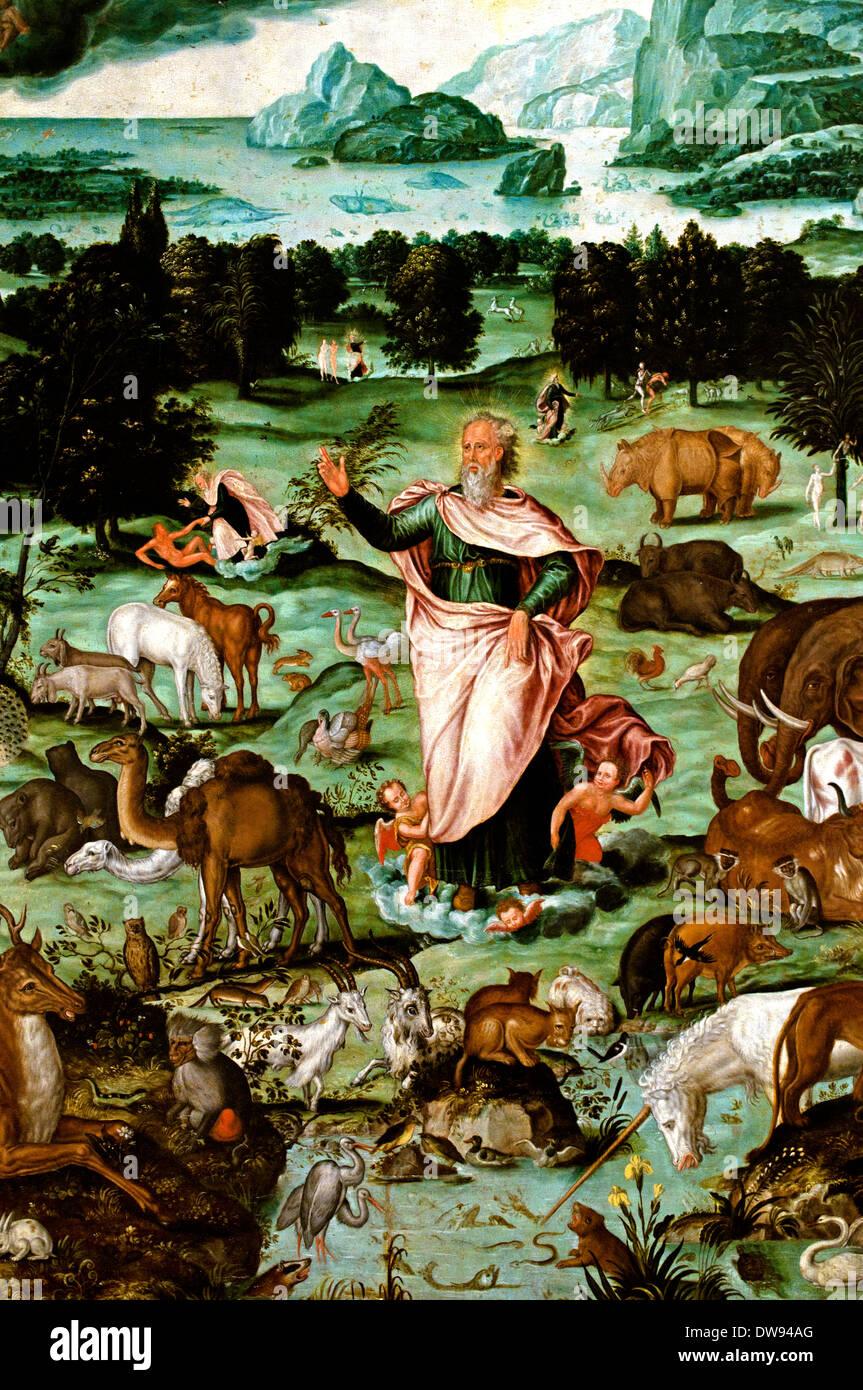 La création du Monde - The creation of the World Melchior Bocksberger 1530-1587 France French - Stock Image