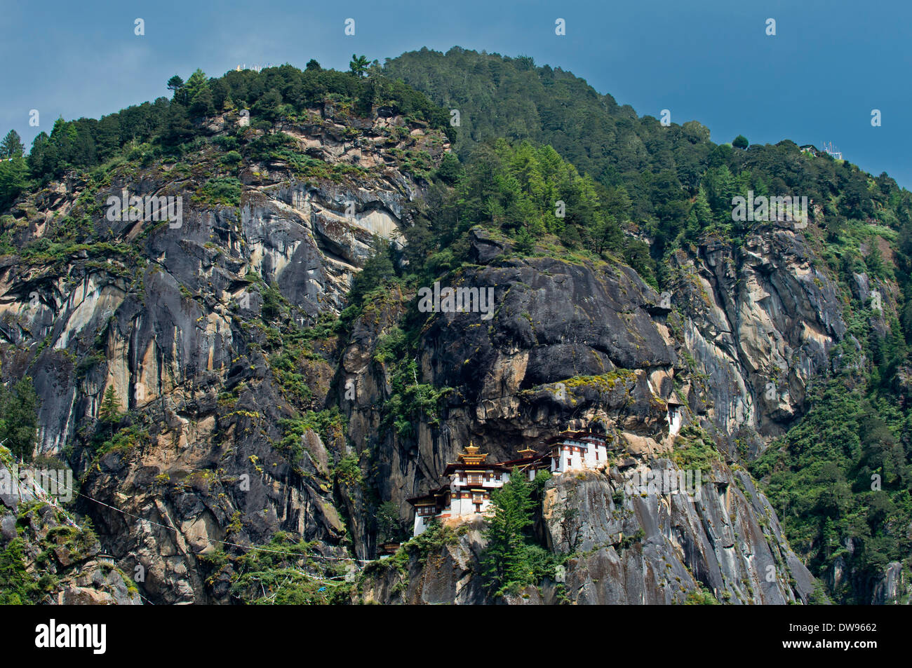Rock face with the Taktsang Palphug Monastery or Tiger's Nest, Taktshang, Bhutan - Stock Image