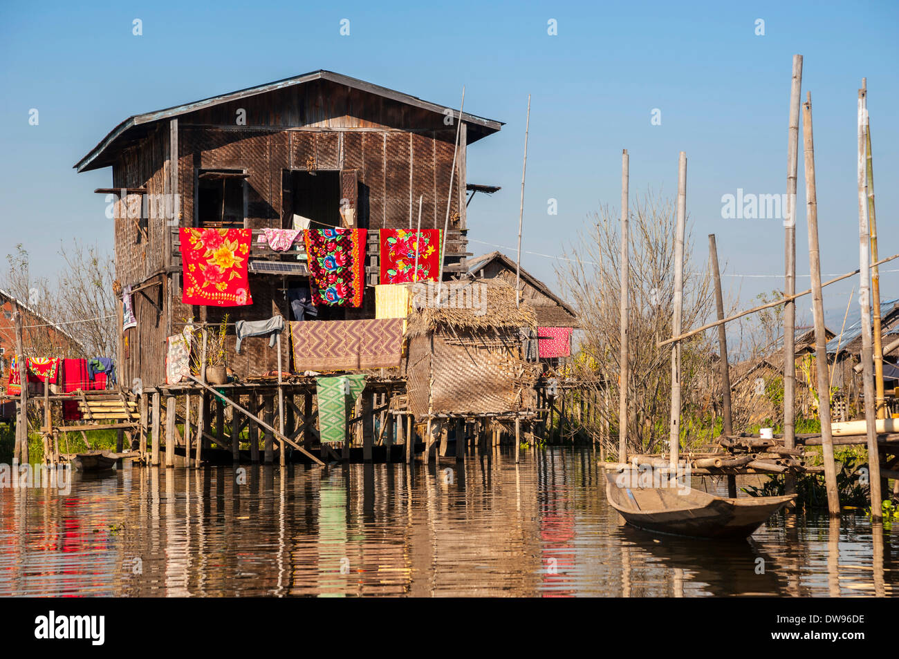 House on the water, floating village, Inle Lake, Shan State, Myanmar - Stock Image