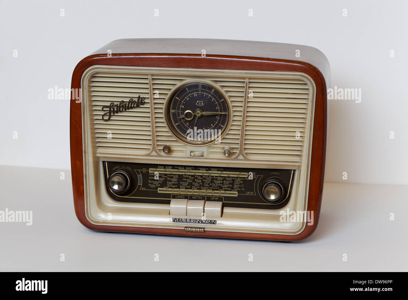 Telefunken model Jubilate, miniature radio from the 1950's, Radio Museum Duisburg, North Rhine-Westphalia, Germany - Stock Image