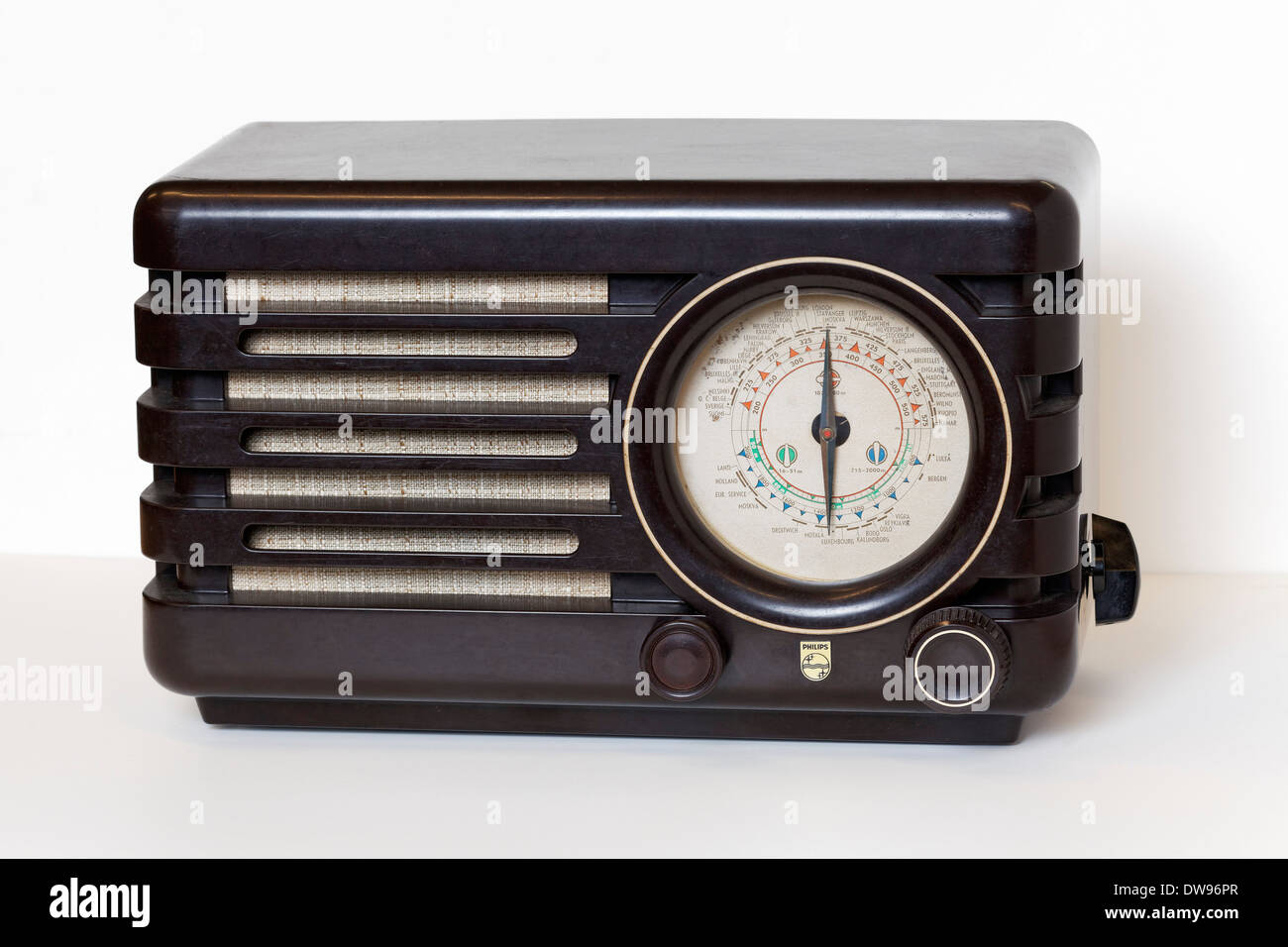 Philips LO5L, radio from 1947, Bakelite housing, Radio Museum Duisburg, North Rhine-Westphalia, Germany - Stock Image