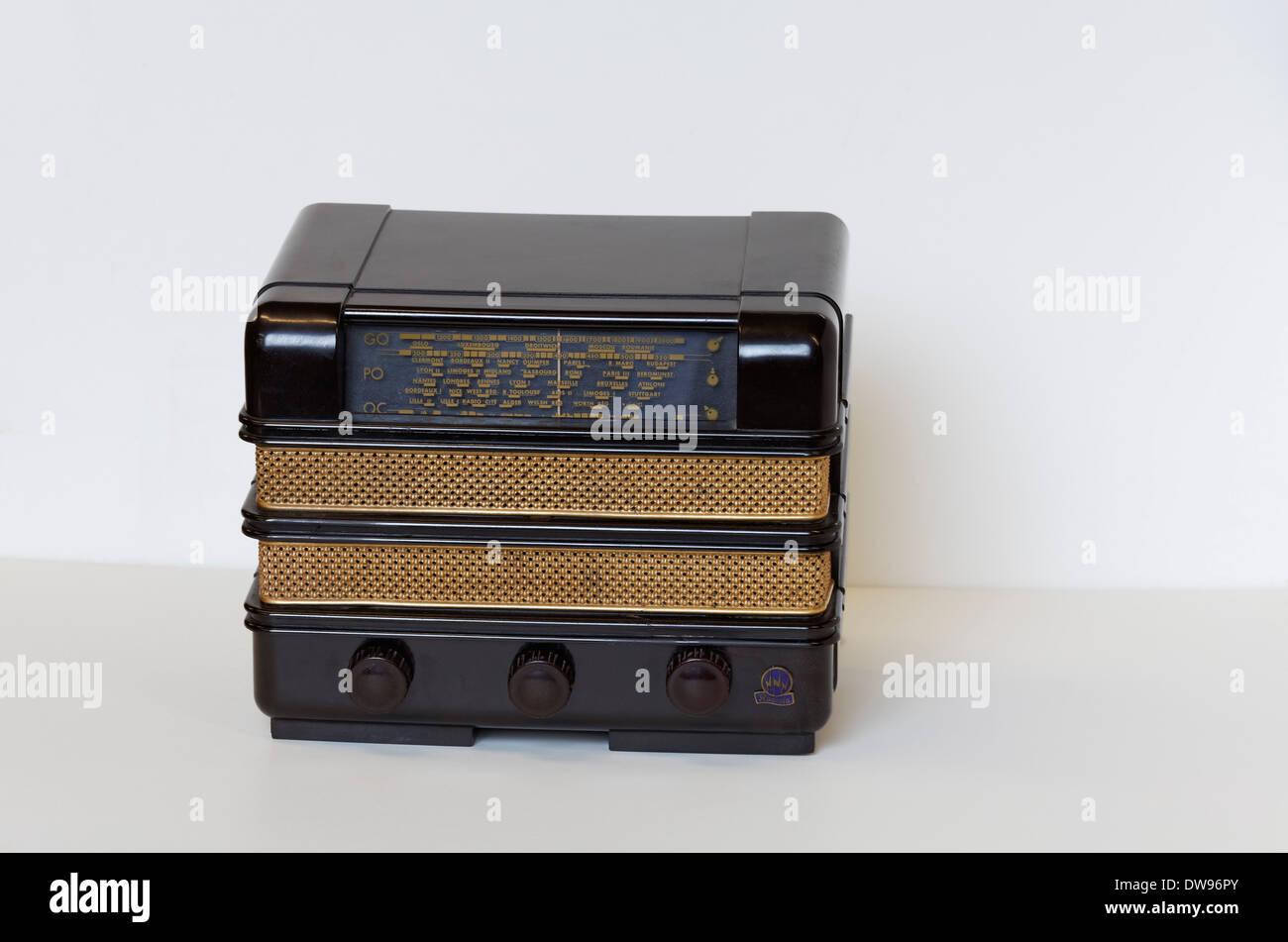 Philips Radiola, miniature radio from 1939, Bakelite housing, Radio Museum Duisburg, North Rhine-Westphalia, Germany - Stock Image
