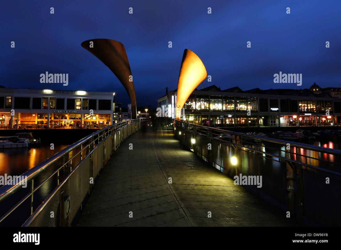 Pero's Bridge, spanning St. Augustine's Reach, Bristol, England, United Kingdom - Stock Image