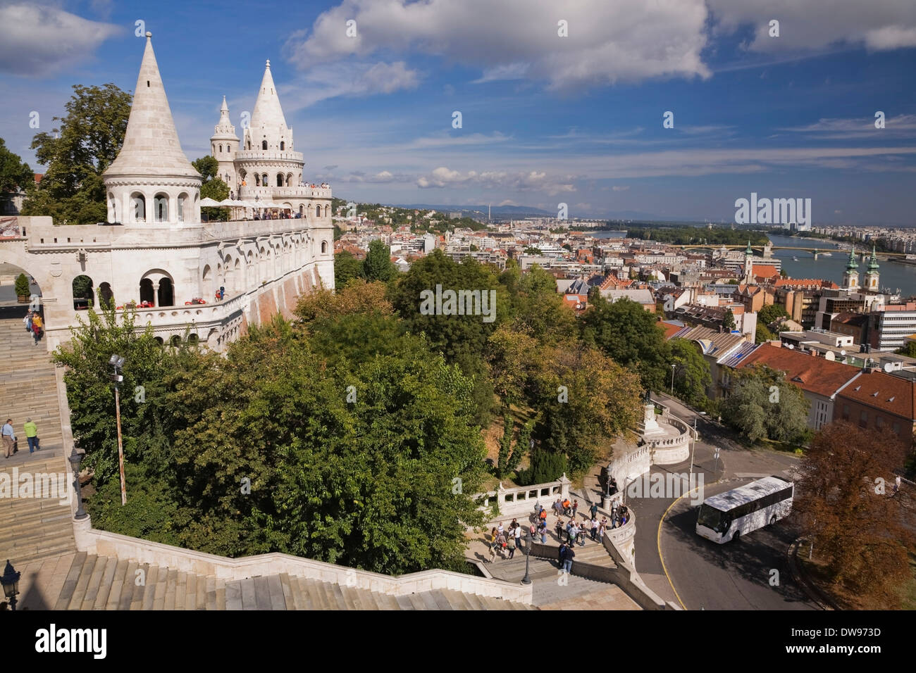 View across the city from Fisherman's Bastion at Castle district to Danube river, Hungary Stock Photo