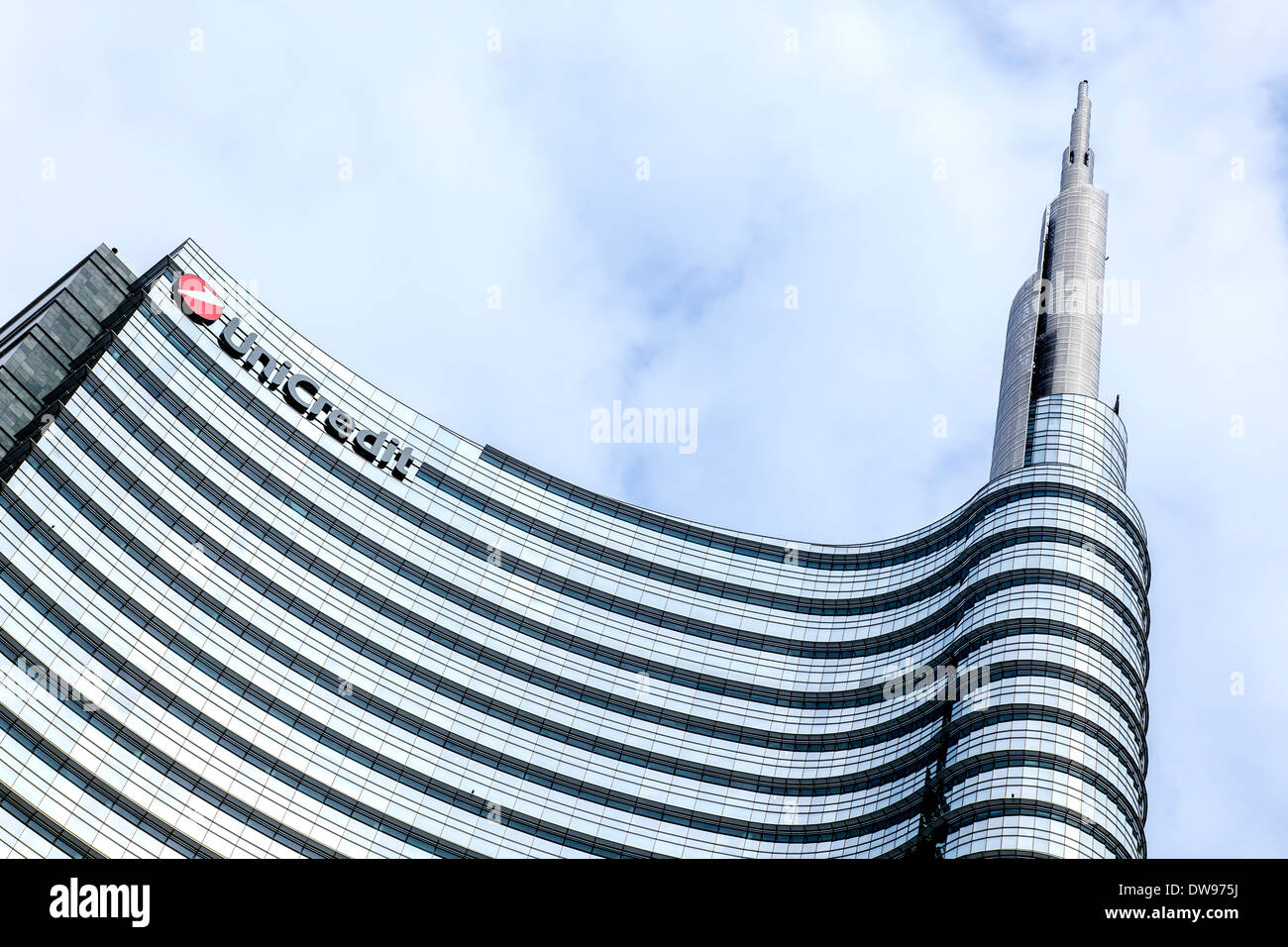 UniCredit Tower, headquarters of the Italian bank UniCredit, Milan, Lombardy, Italy - Stock Image