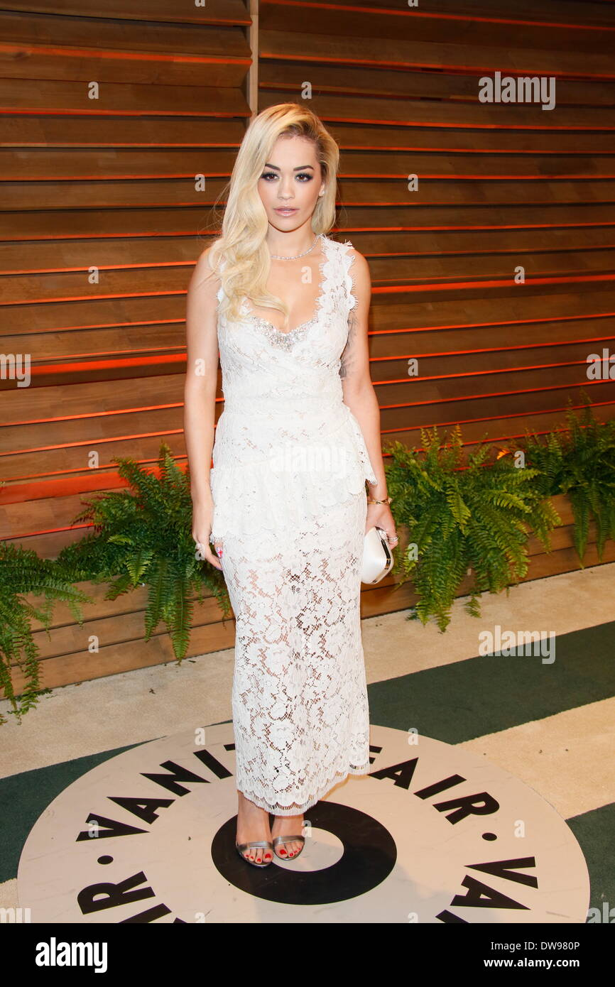 West Hollywood, Los Angeles, USA. 02nd Mar, 2014. British singer and model Rita Ora arrives at the Vanity Fair Oscar Stock Photo