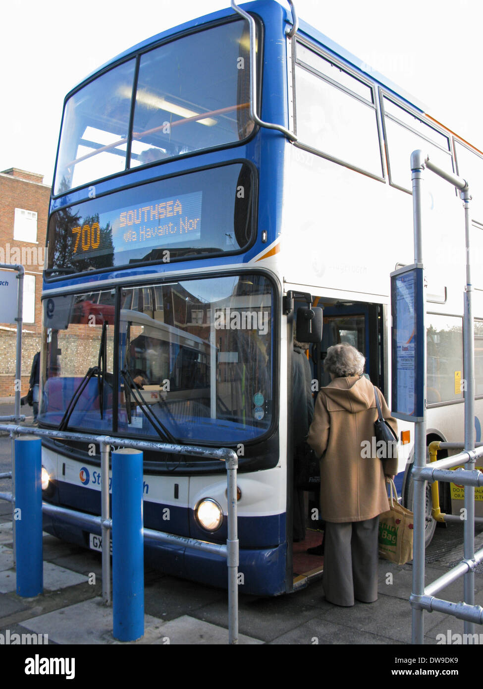 People Boarding A 700 Coastliner Stagecoach Bus At Chichester Station West Sussex UK