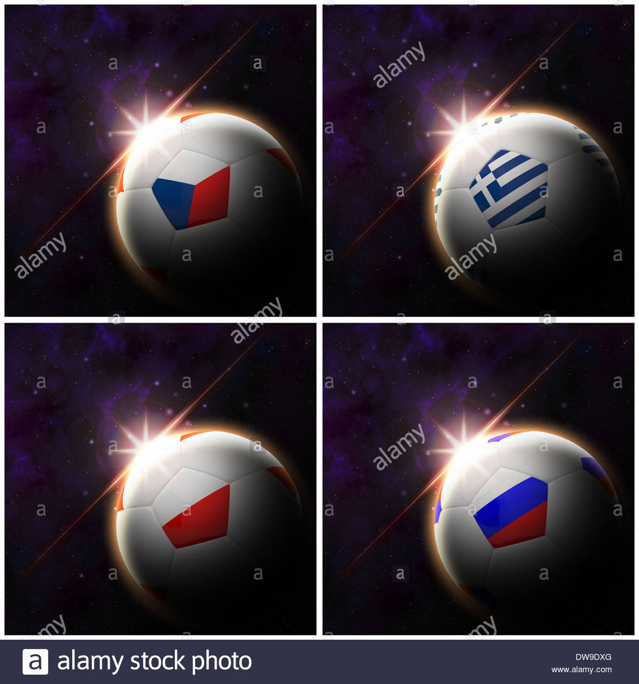 Flag on 3d football with rising sun illustration - Stock Image