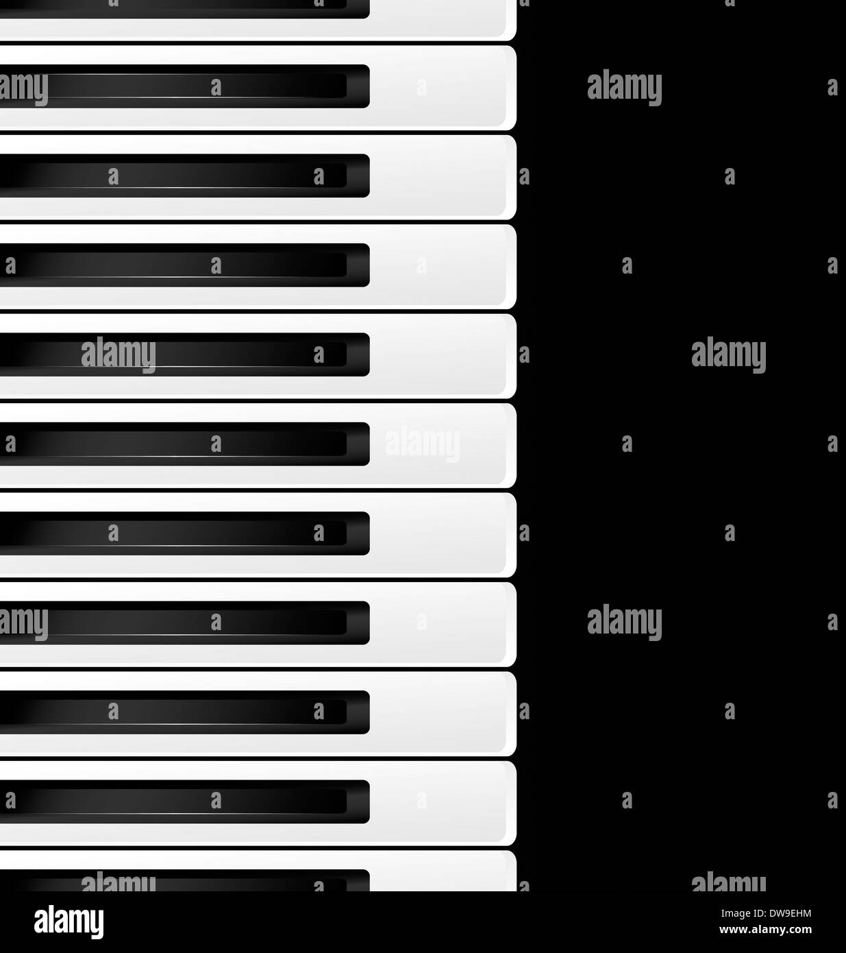 black background and abstract black and white piano keys - Stock Image