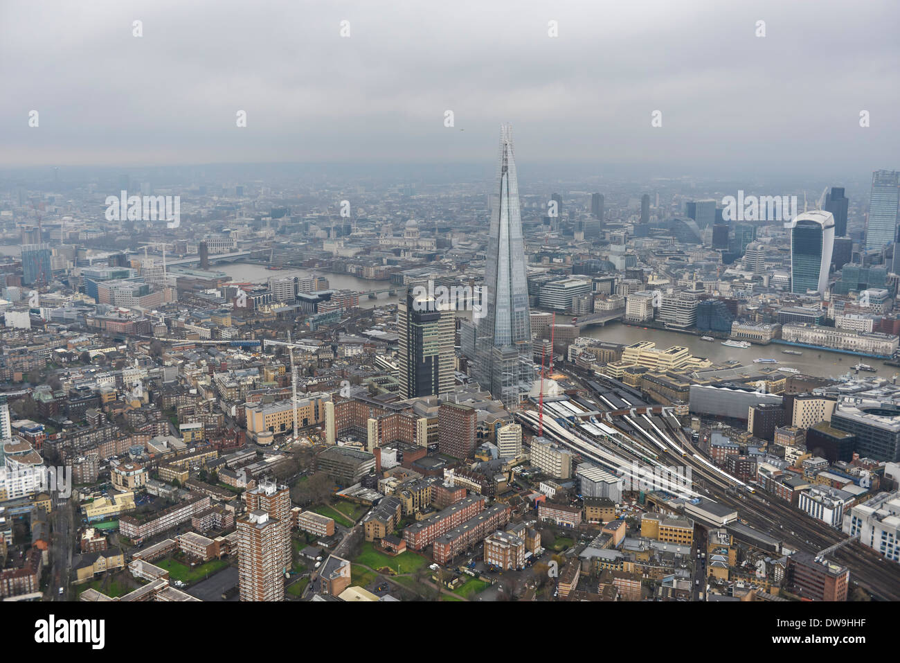 Aerial Photograph showing The Shard with the City of London visible in the background - Stock Image