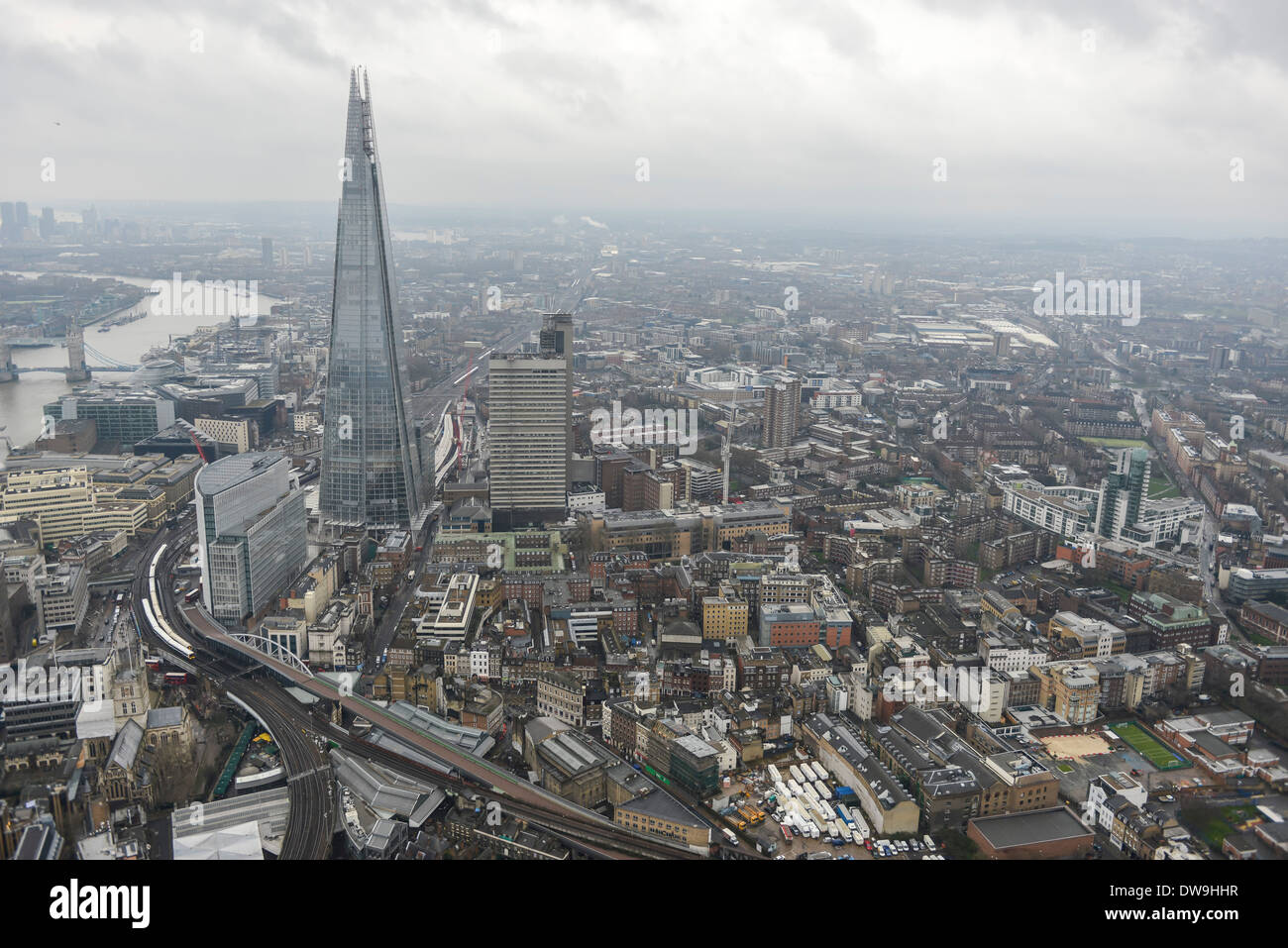 Aerial Photograph showing The Shard and Surroundings in Southwark, London, United Kingdom - Stock Image