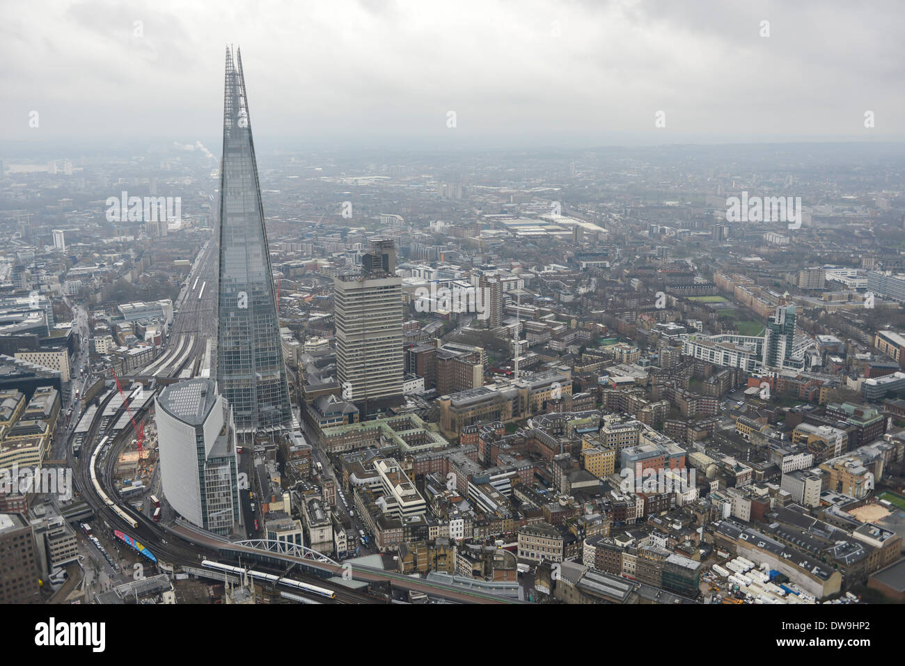 Aerial Photograph showing The Shard and Surroundings in Southwark, London, United Kingdom Stock Photo