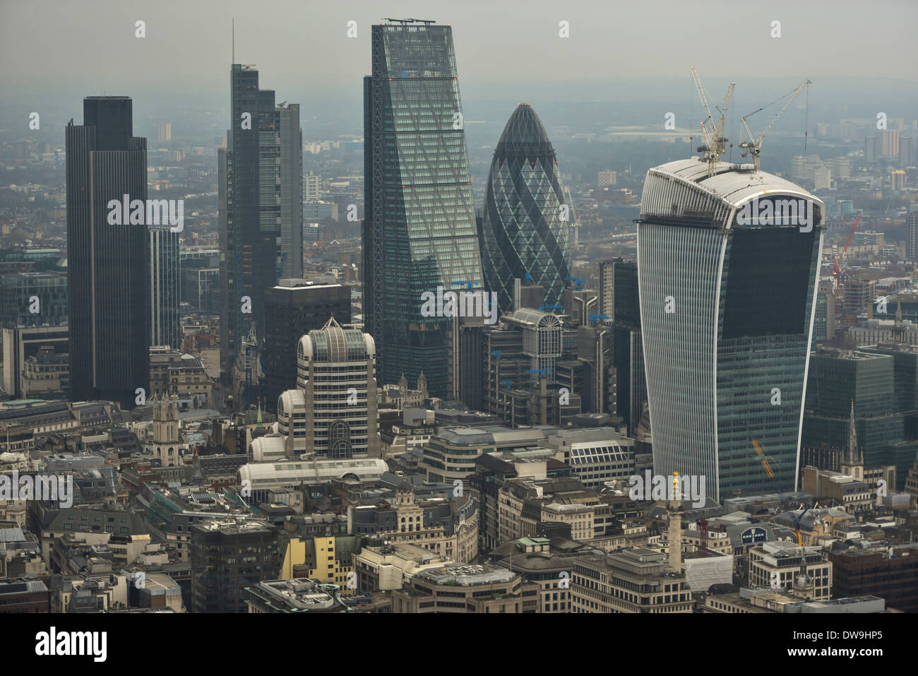 Aerial Photograph showing the high-rise buildings of the Square Mile in London - Stock Image