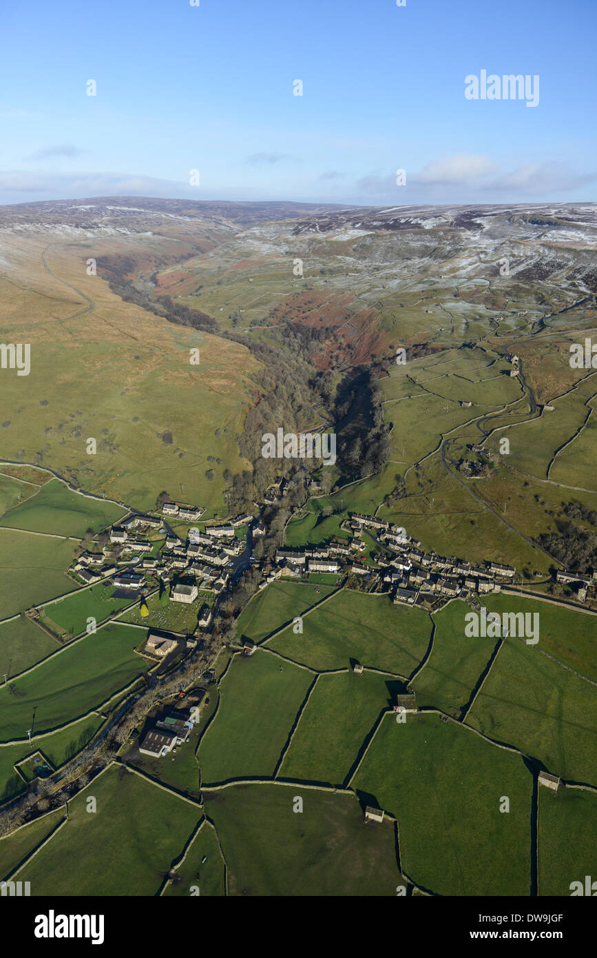 Aerial Photograph showing Gunnerside in the Yorkshire Dales in Winter Stock Photo