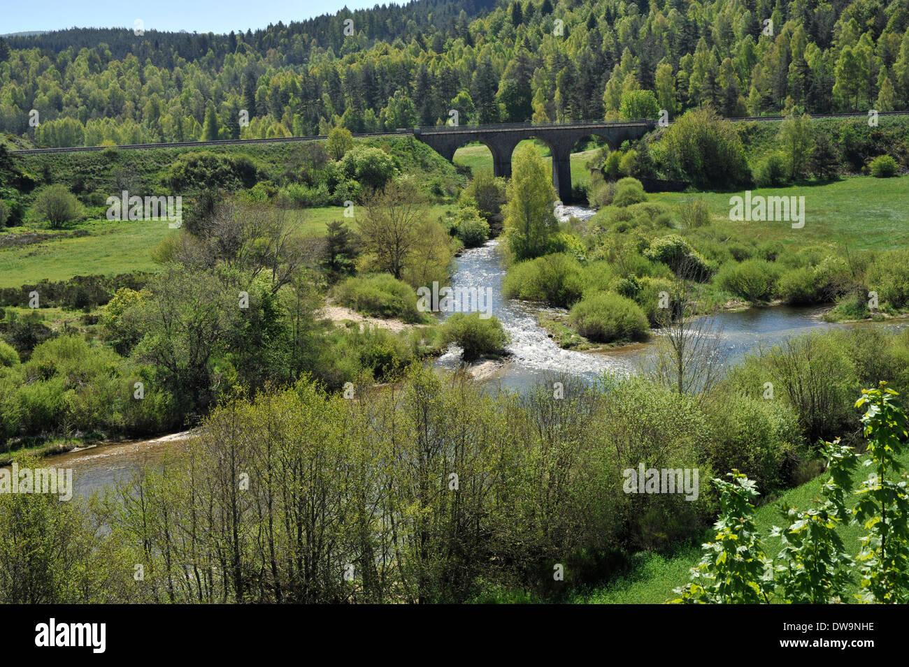 River Allier, Auvergne,  France - Stock Image