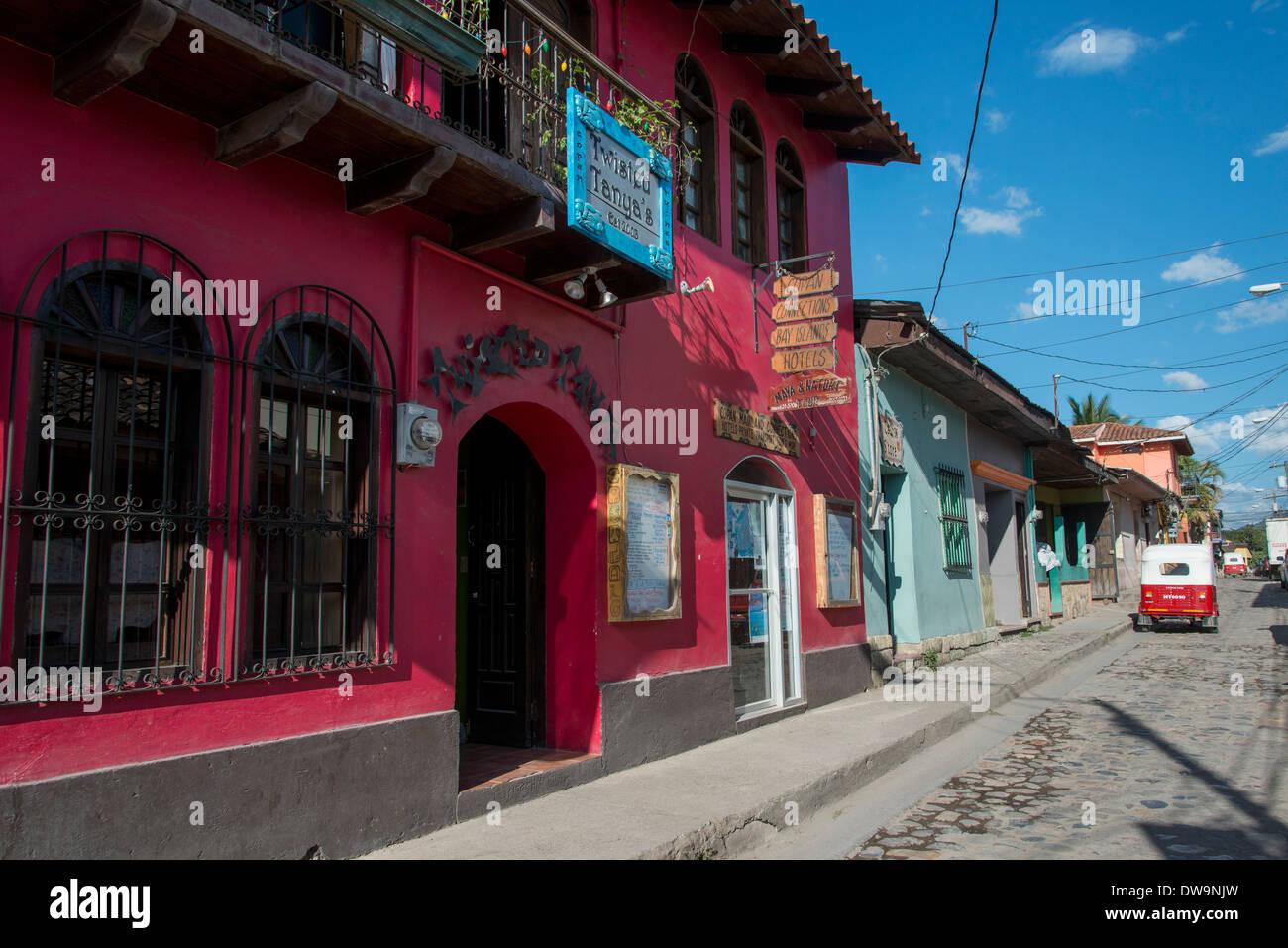 Buildings along the street Barrio El Centro Copan Copan Ruinas Honduras Stock Photo