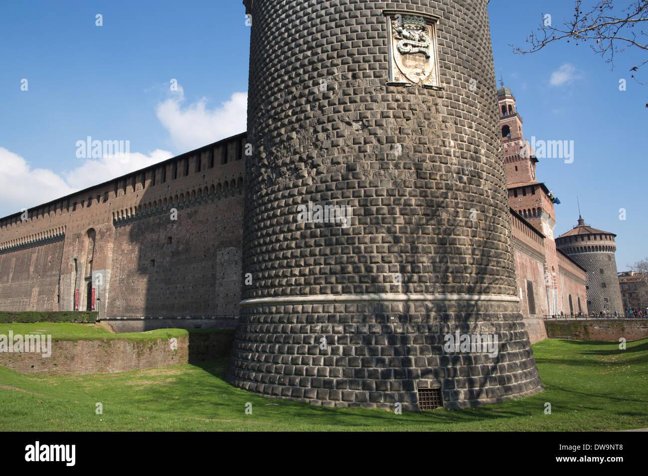 Castello Sforzesco, Sforza Castle, built in the 15th century by Francesco Sforza, Milano, Milan, Italy - Stock Image