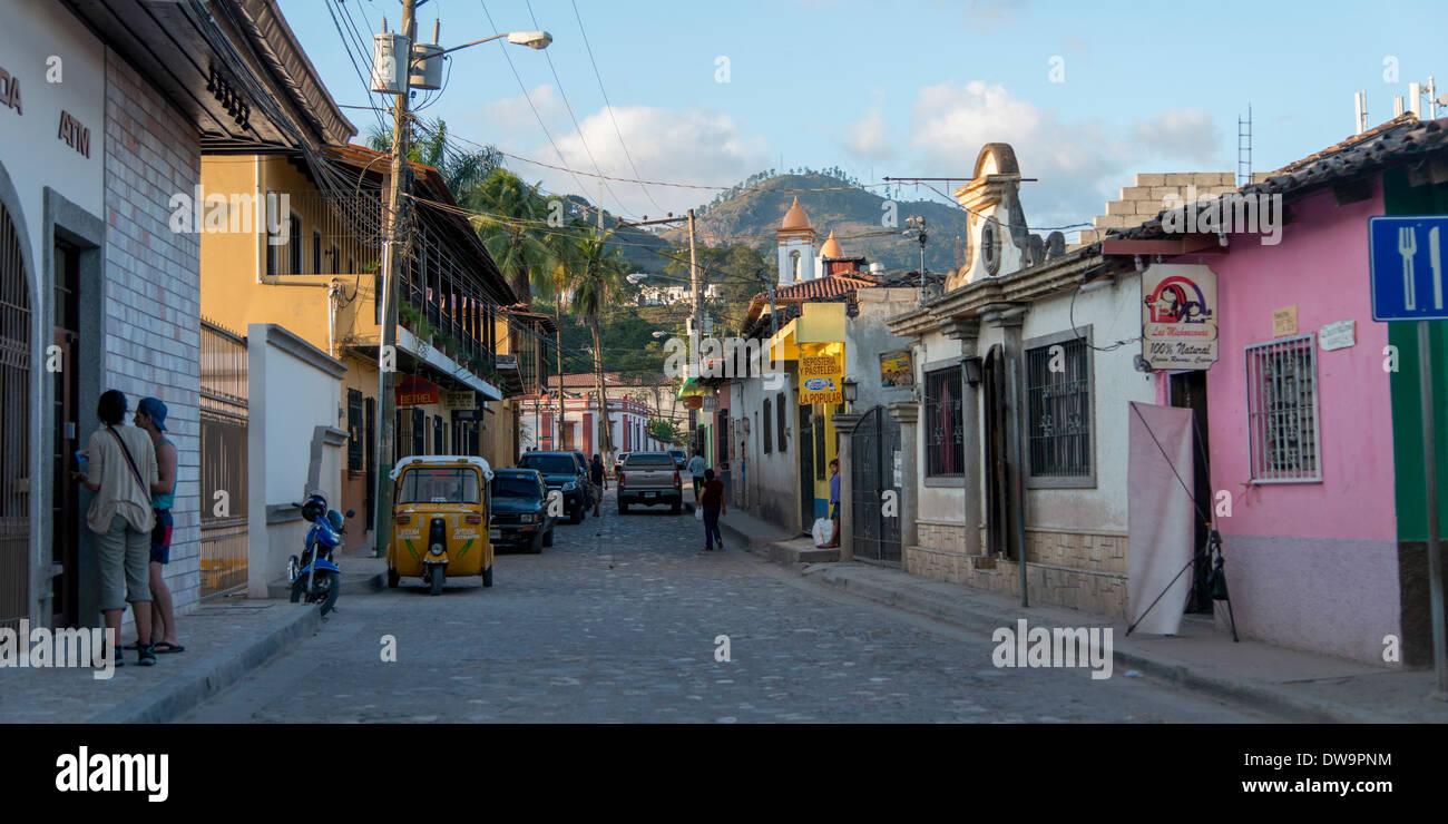 Buildings along a street Copan Copan Ruinas Honduras - Stock Image