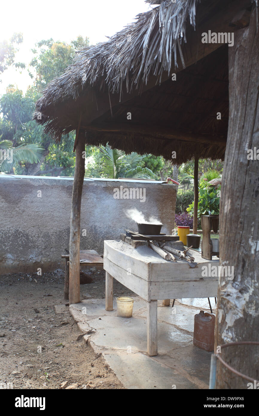 Outdoors kitchen, Holguin Province, Cuba - Stock Image