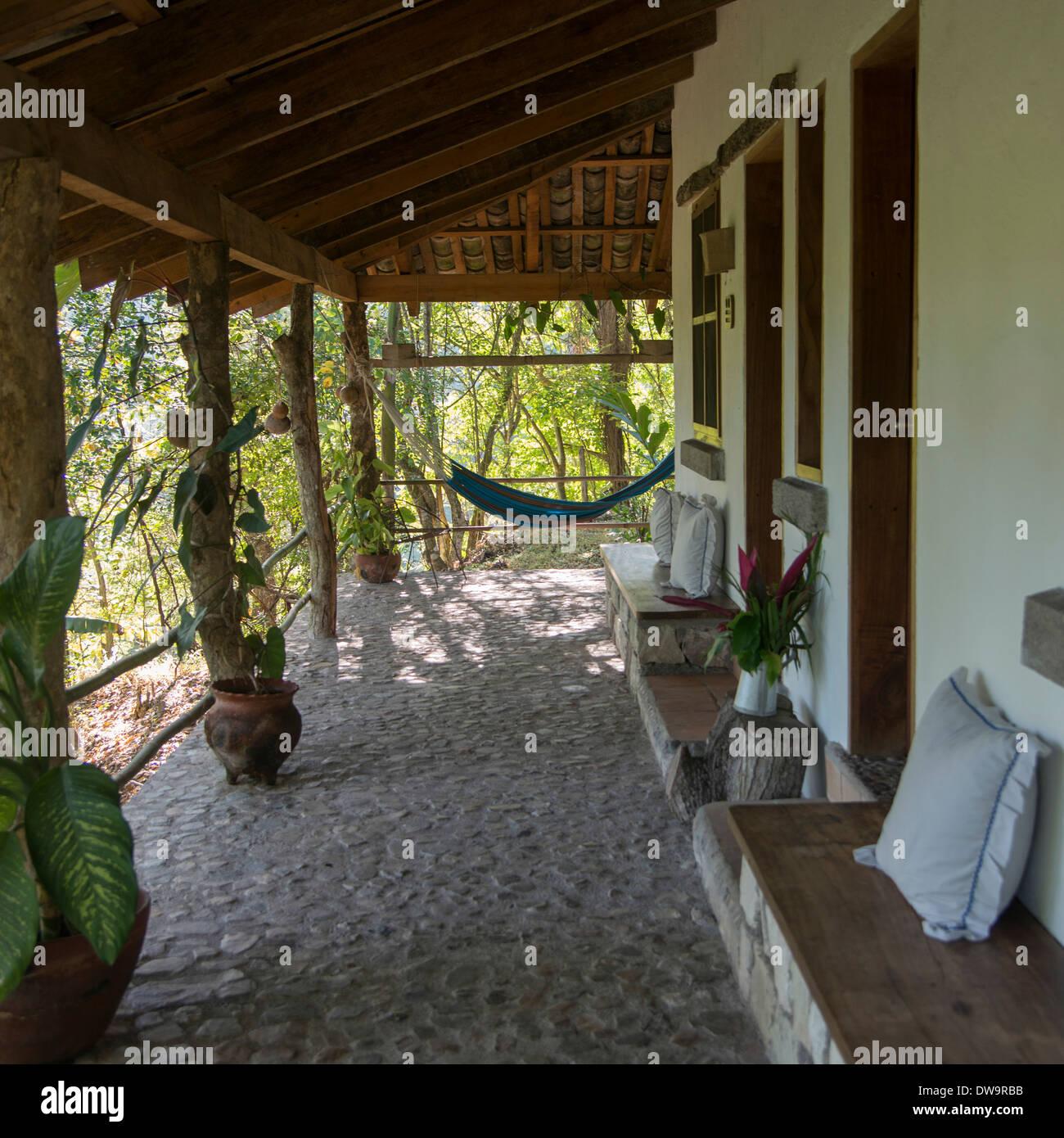 Porch of a house Copan Copan Ruinas Copan Department Honduras - Stock Image