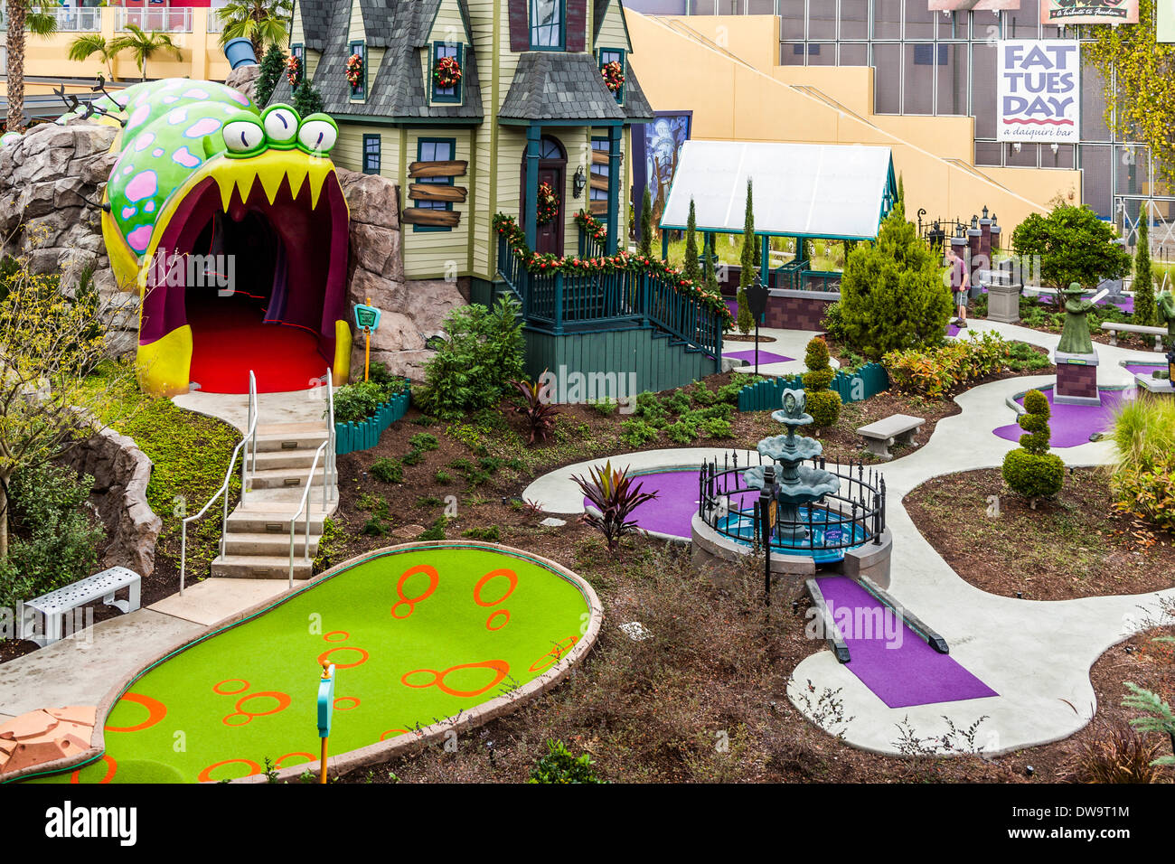 Putt Putt golf course at CityWalk in Universal Studios, Orlando, Florida - Stock Image