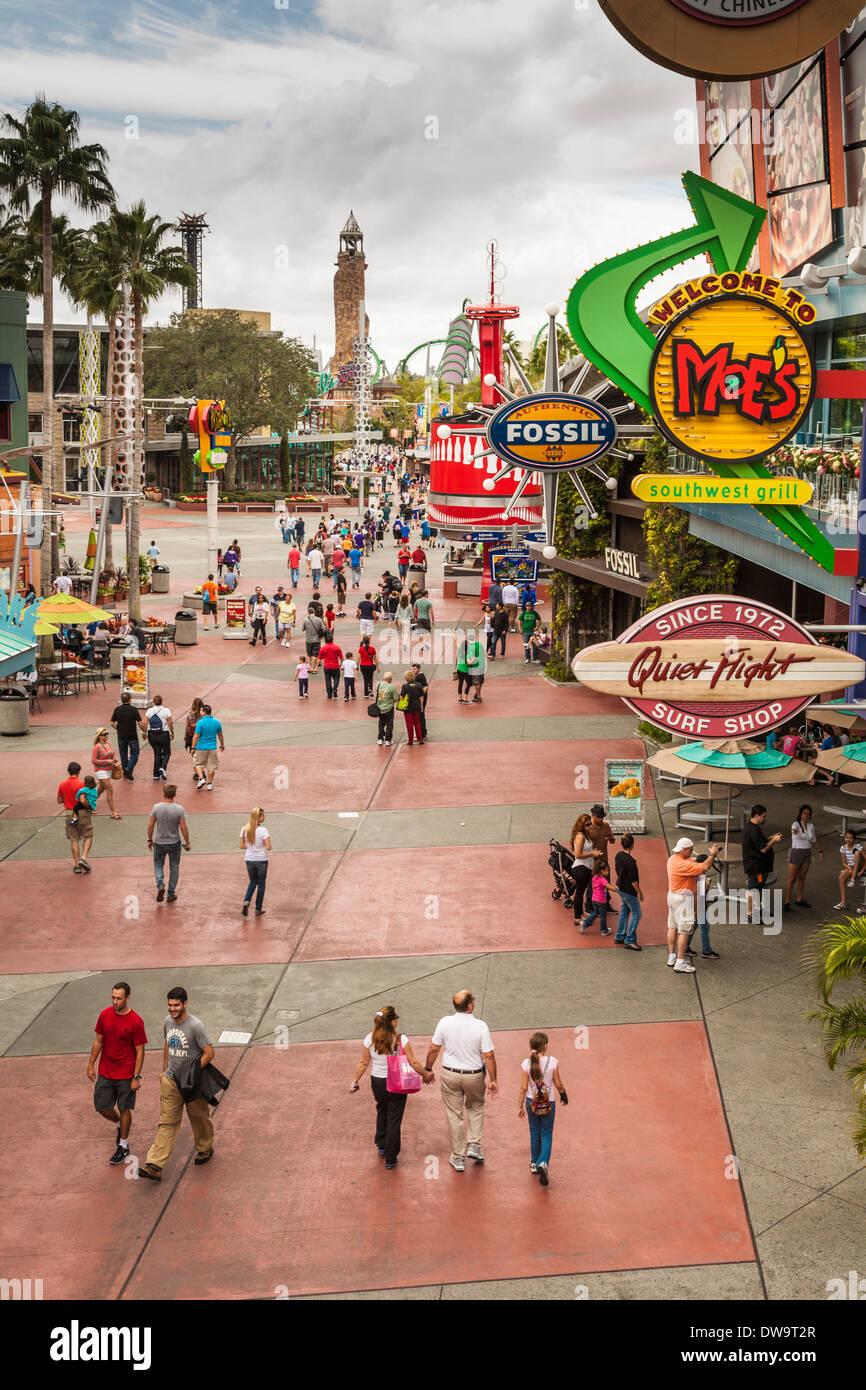 Park guests entering CityWalk at Universal Studios, Orlando, Florida - Stock Image