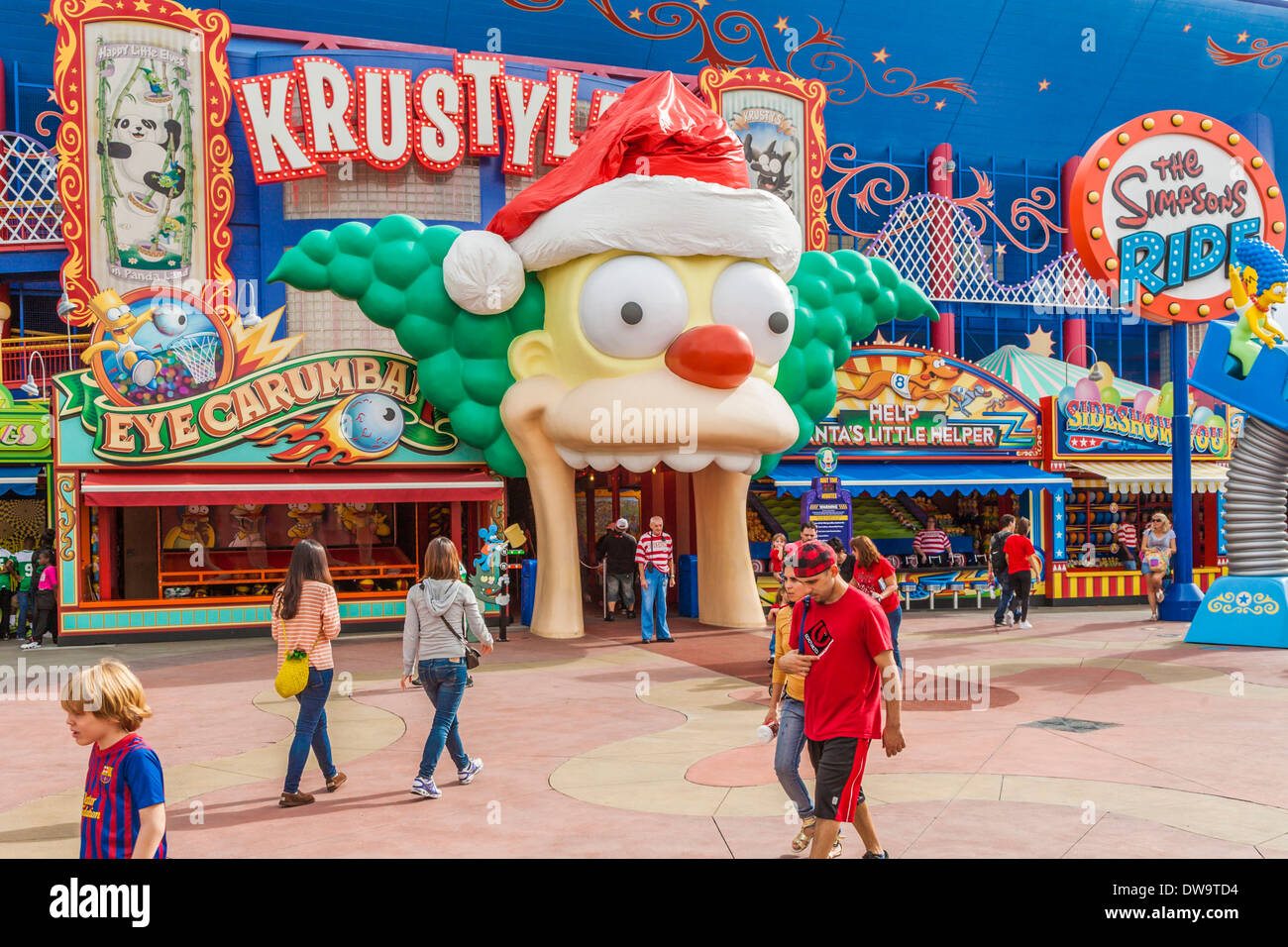 The Simpsons ride at Krustyland attraction at Universal Studios theme park in Orlando, Florida - Stock Image