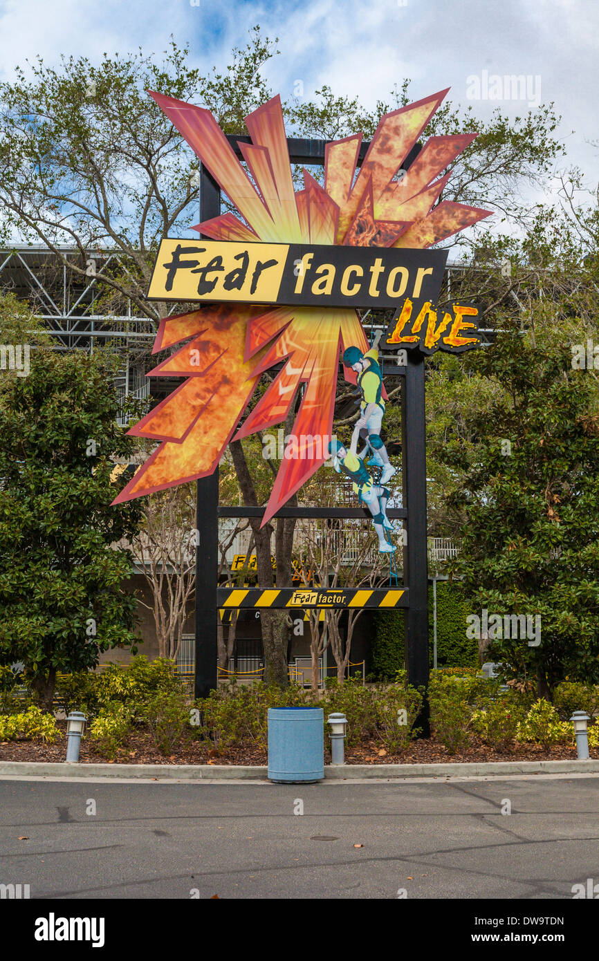 Sign in front of the Fear Factor live show at Universal Studios theme park in Orlando, Florida - Stock Image
