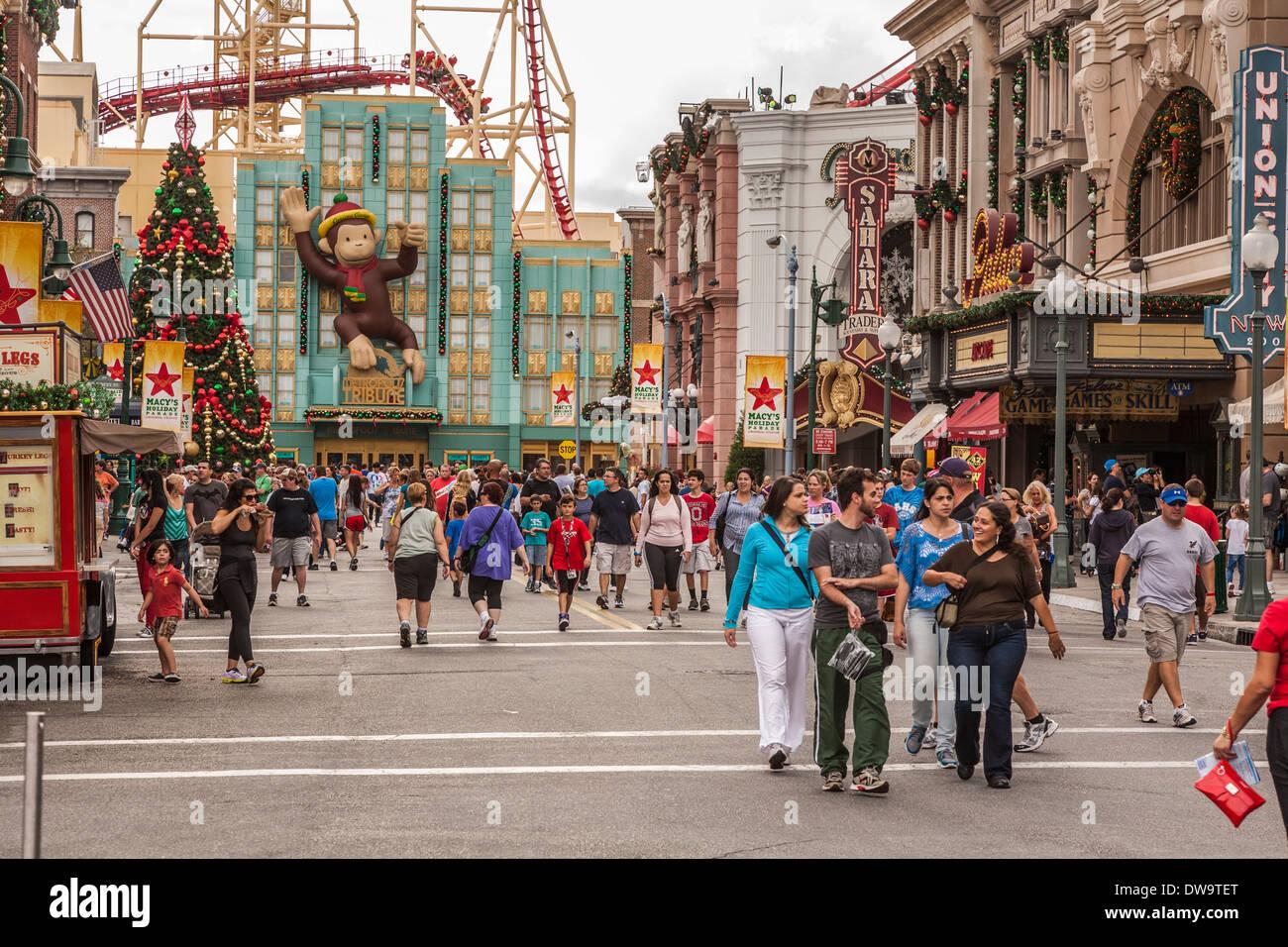 Christmas At Universal Studios Orlando.Crowded City Street During Christmas Holidays At Universal