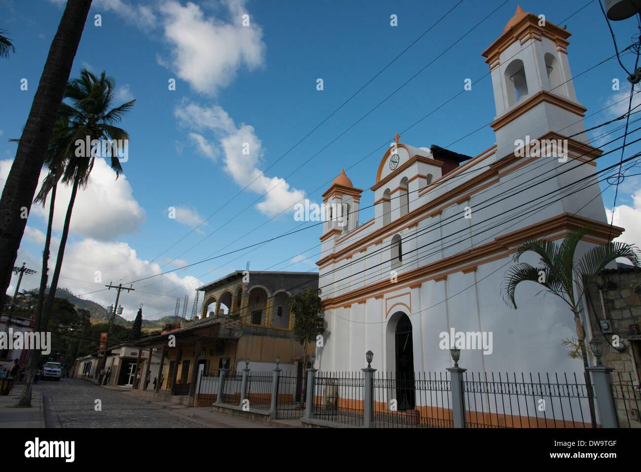 Facade of a church Barrio El Centro Copan Copan Ruinas Honduras - Stock Image