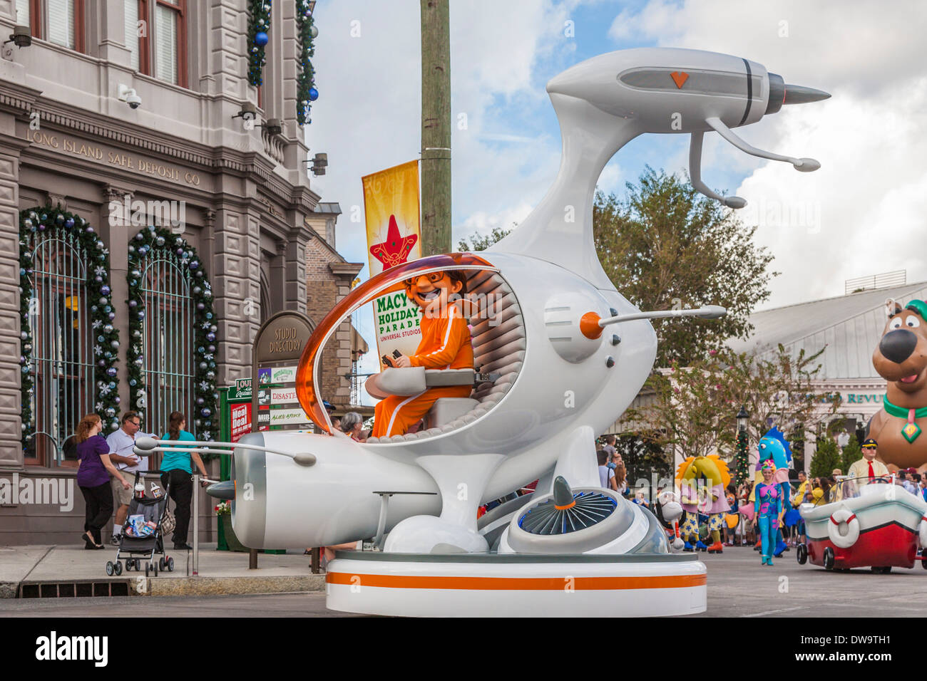 Vector from Despicable Me rides spaceship float in parade at Universal Studios theme park in Orlando, Florida - Stock Image