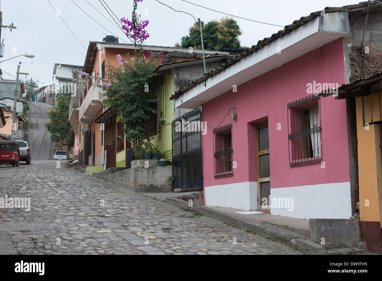 Houses along the street Barrio El Centro Copan Copan Ruinas Honduras Stock Photo