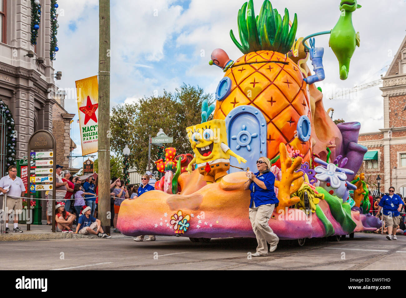 SpongeBob SquarePants And Friends On Parade Float In Universal Studios Theme Park Orlando Florida
