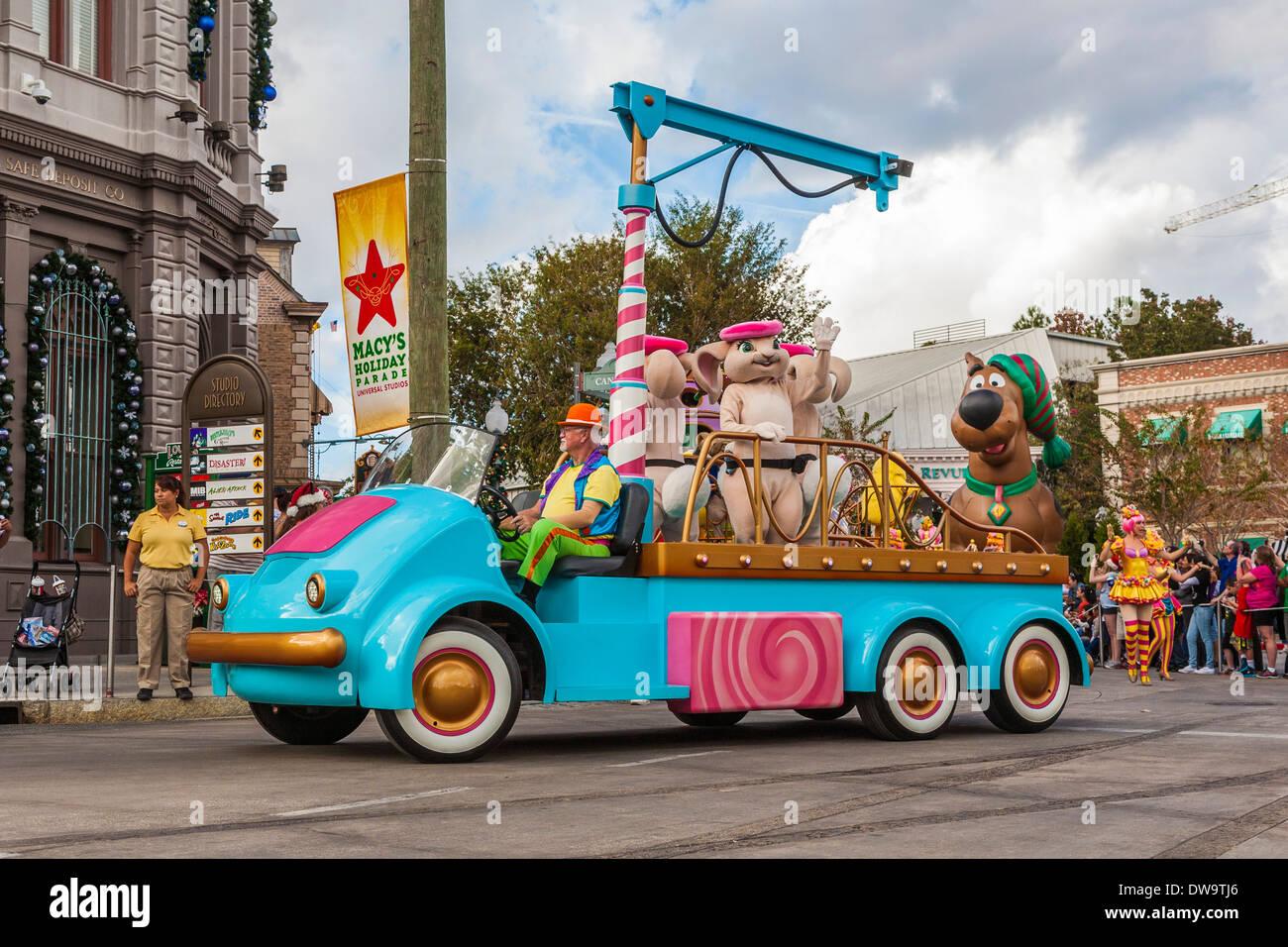 Cartoon characters in parade at Universal Studios theme park in Orlando, Florida - Stock Image
